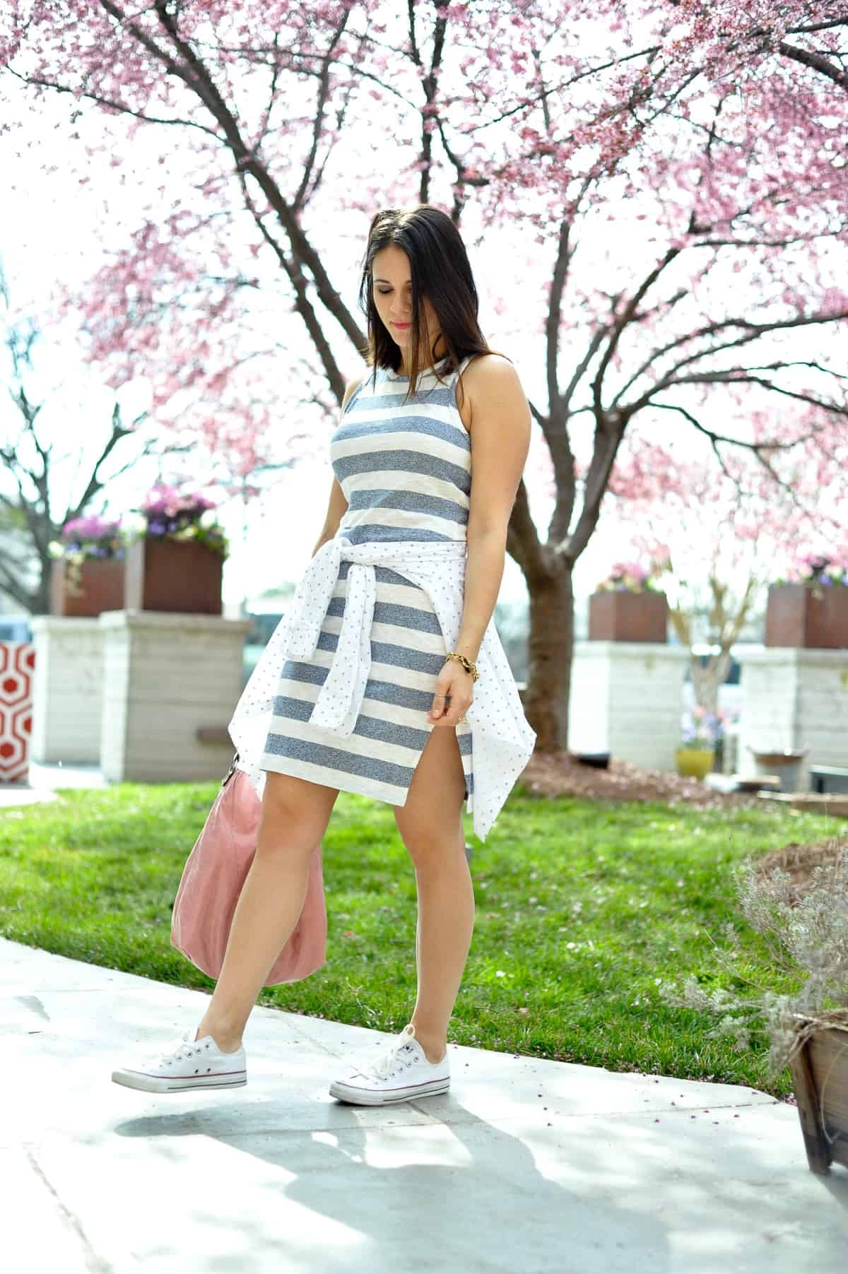 striped dress with converse for summer