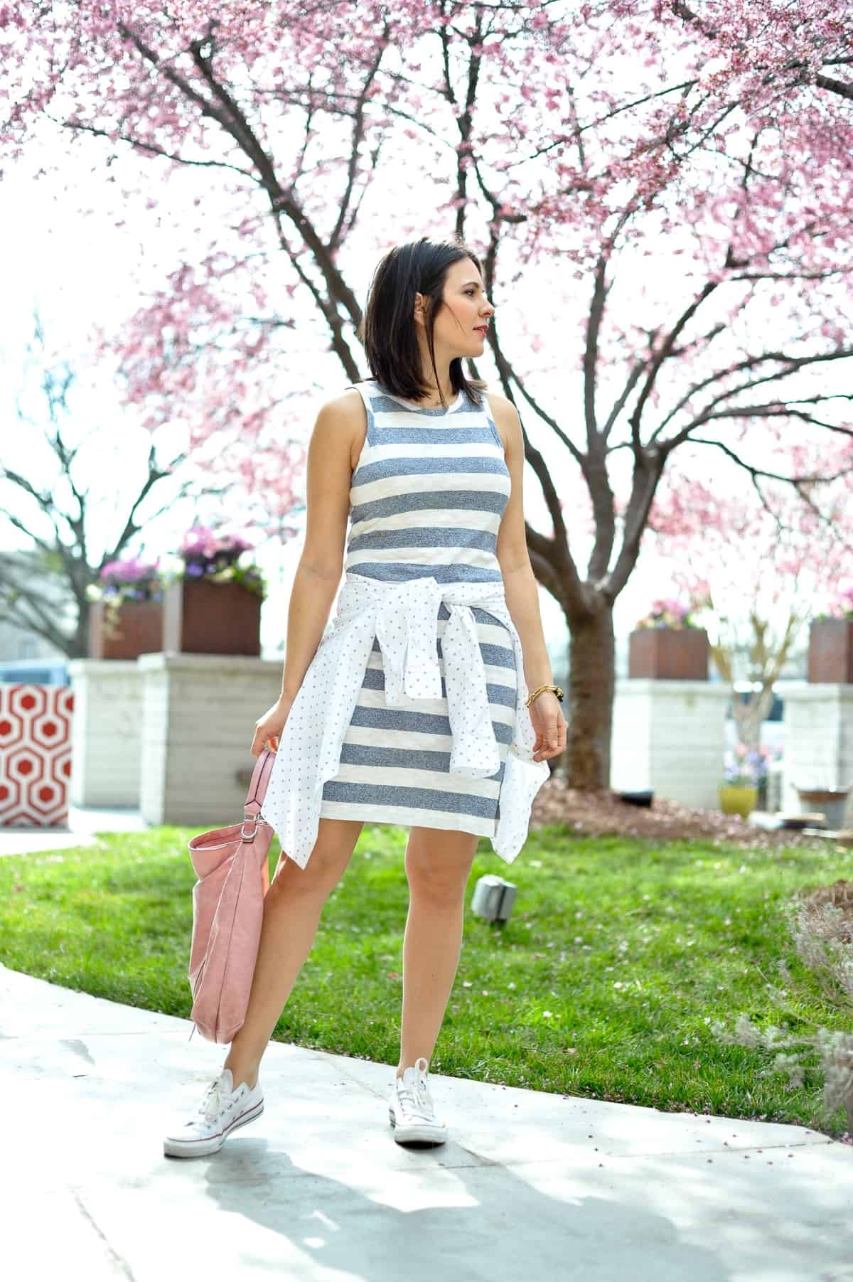Jessica Camerata wears a striped cotton tank dress