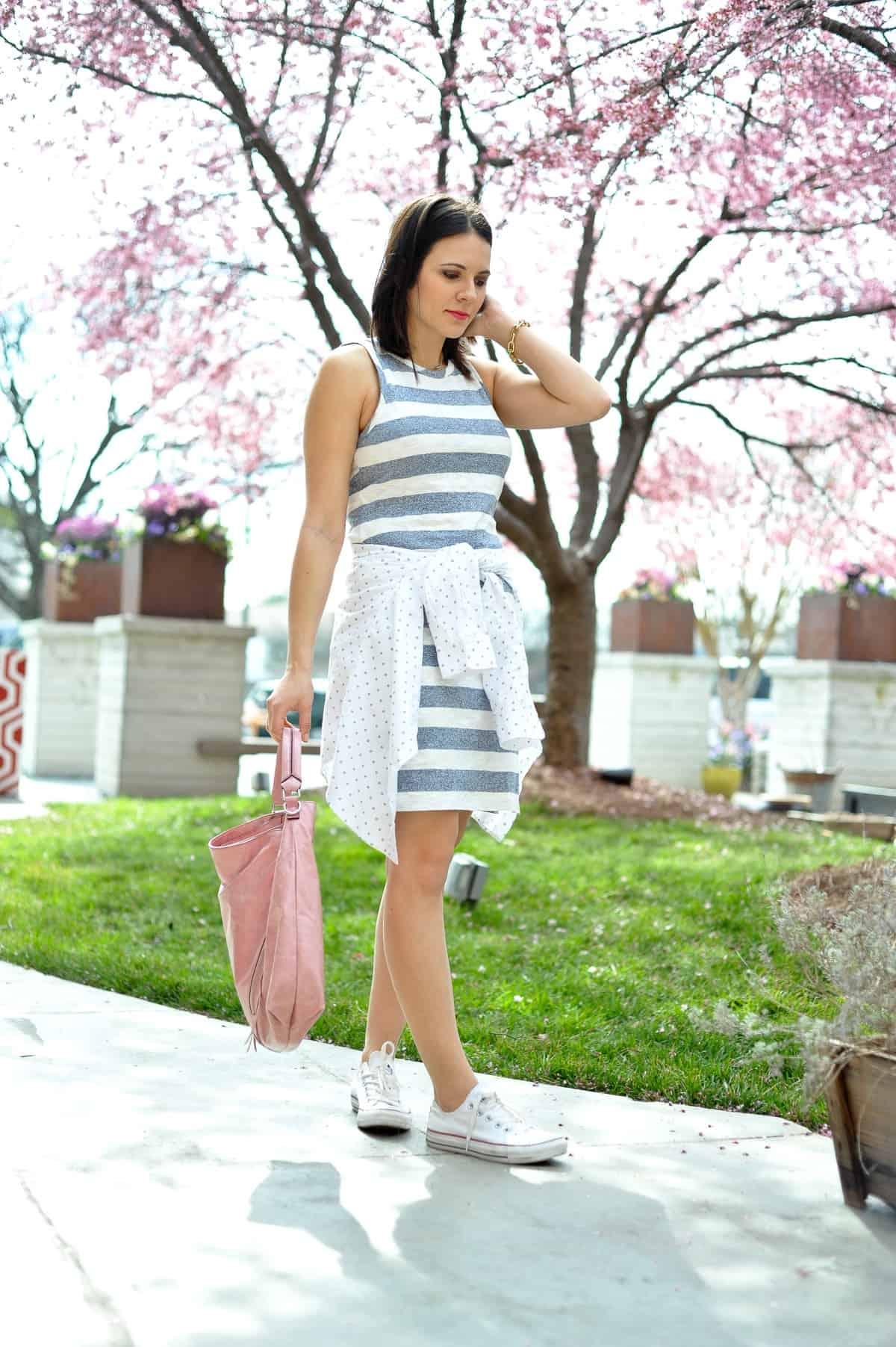 summer striped sleeveless dress, blue and white dress