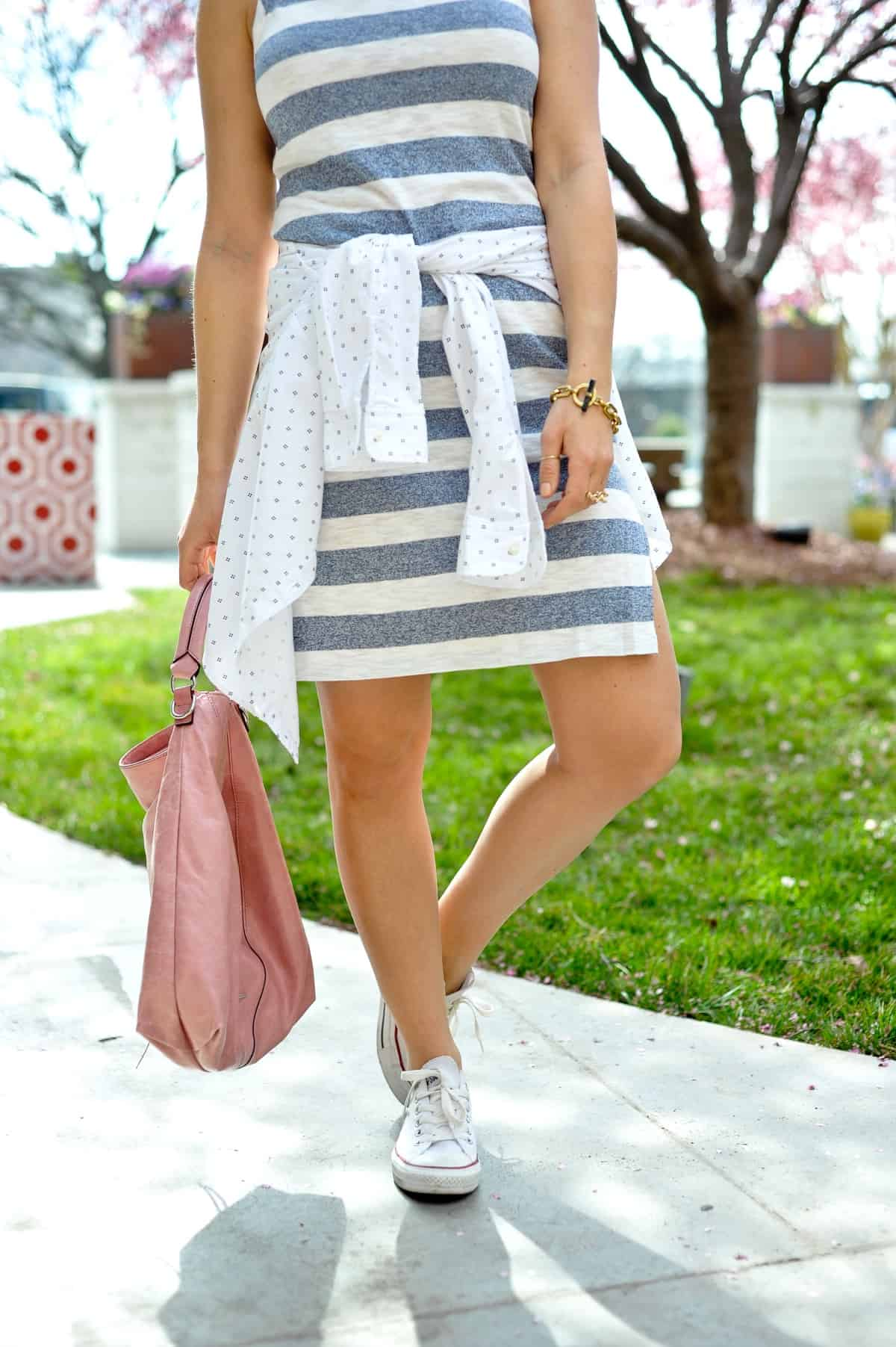 Striped blue and white dress with converse