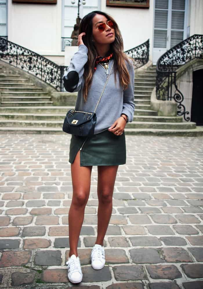 how to style adidas superstars, how to style white sneakers with a mini skirt, outfit ideas with sneakers - My Style Vita