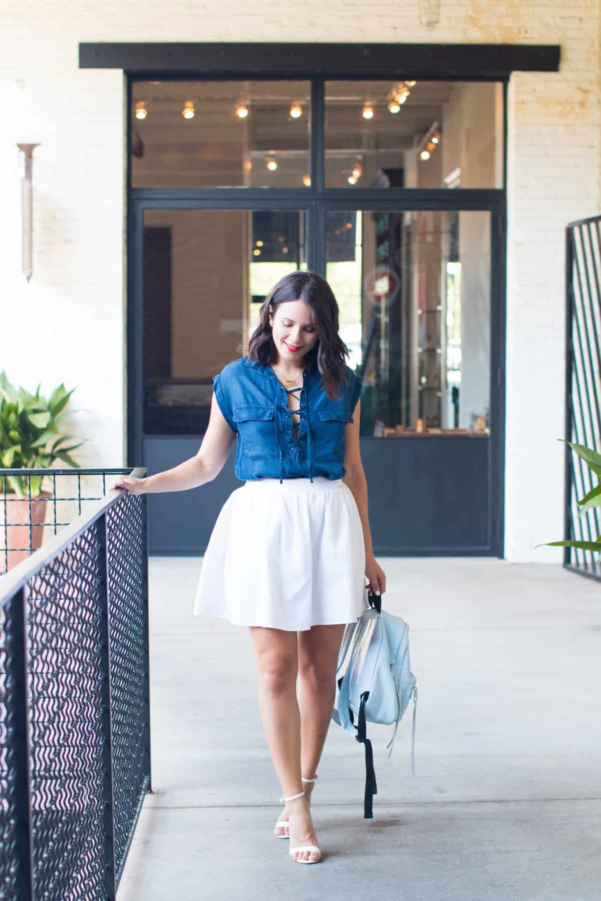 Jessica Simpson lace up chambray shirt - summer outfit ideas - My Style Vita @mystylevita