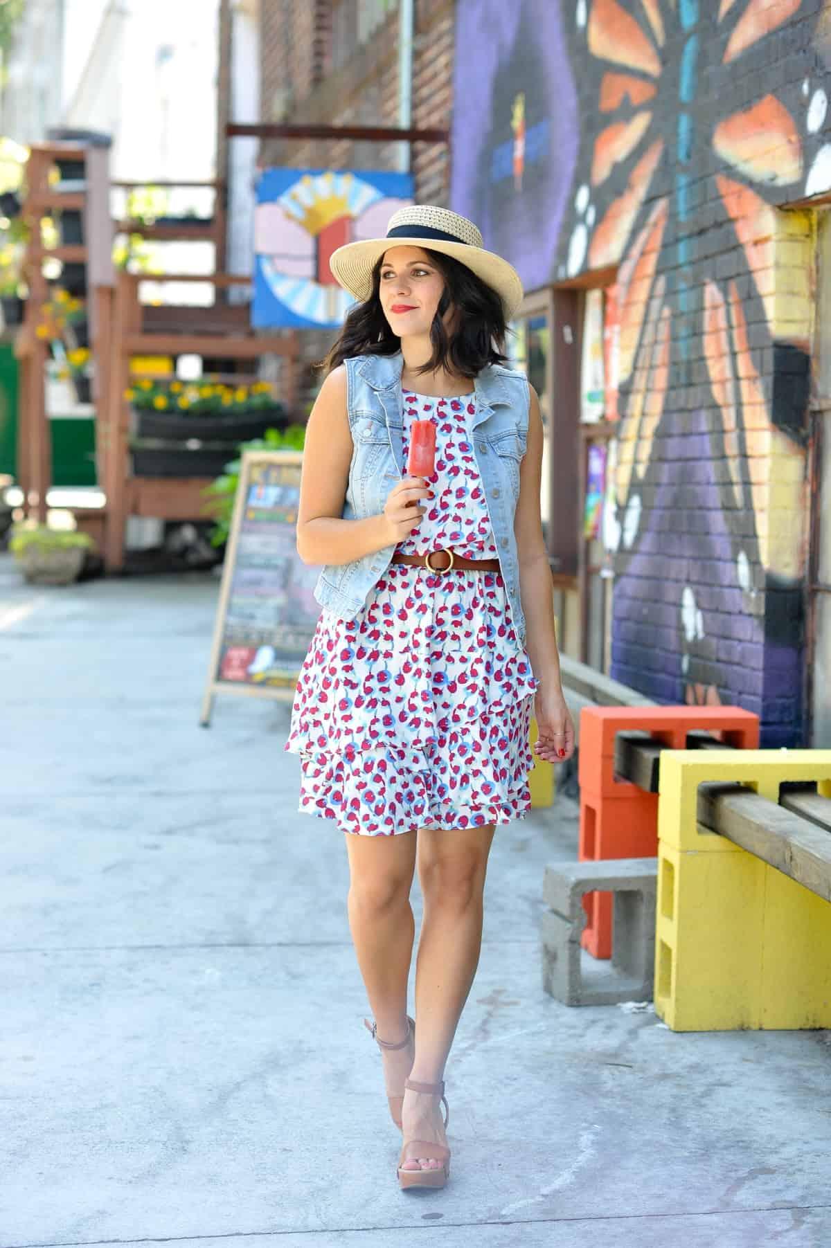 Cooper and Ella cherry print dress - summer outfit ideas - My Style Vita @mystylevita