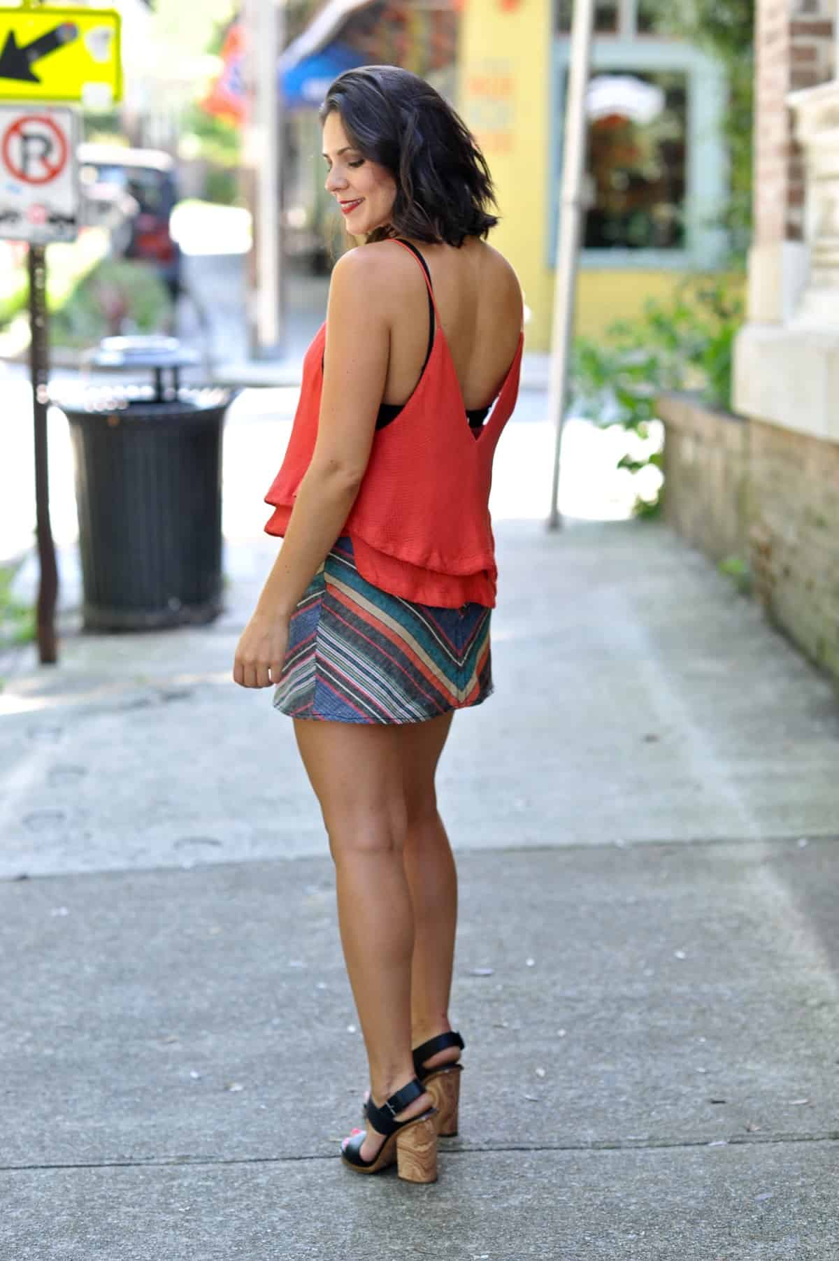 Free People Striped Mini Skirt - summer date night outfit ideas - My Style Vita @mystylevita