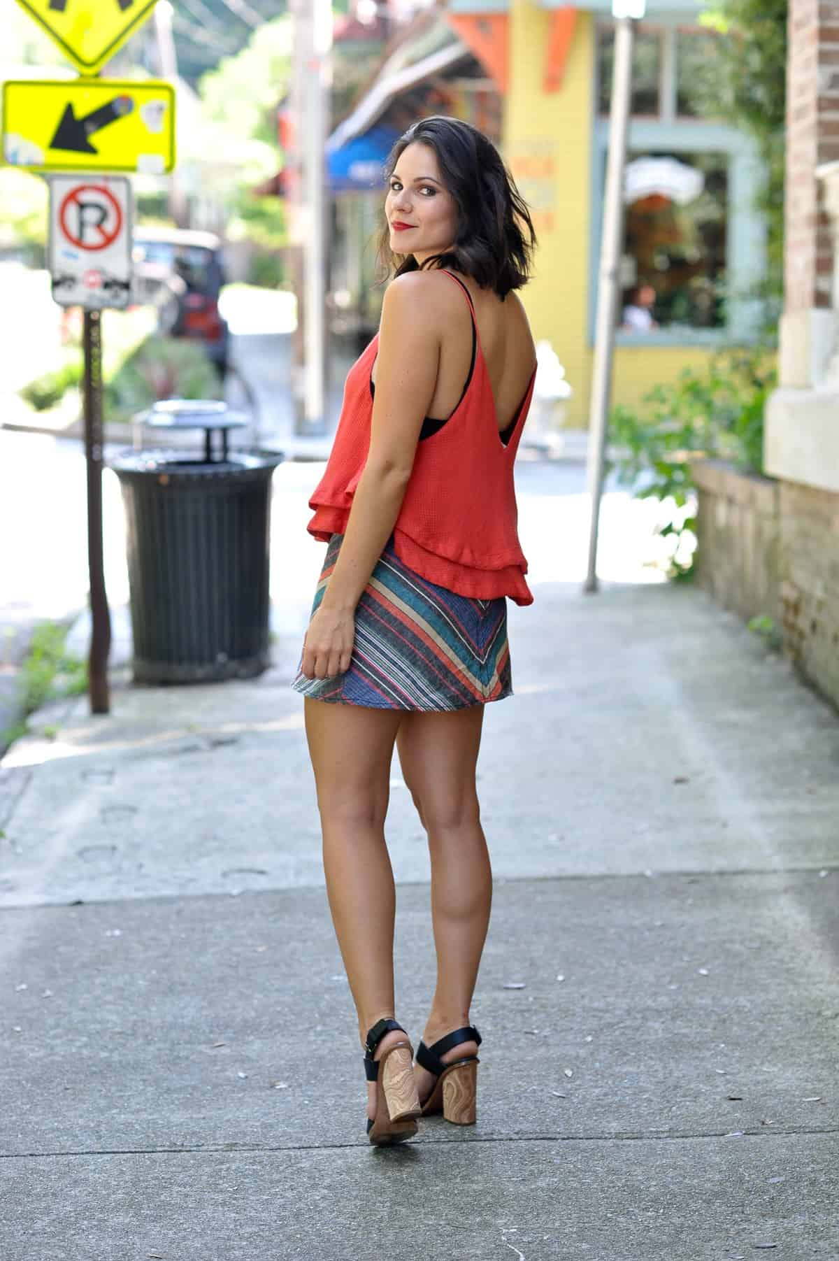 Free People Striped Mini Skirt - summer date night outfit ideas - My Style Vita @mystylevita