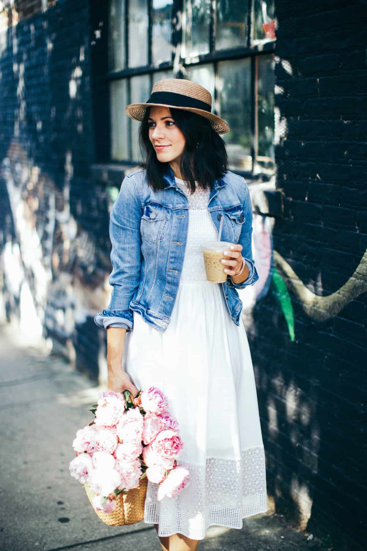 Pink Peonies, summer outfit ideas, white dress ideas - My Style Vita @mystylevita