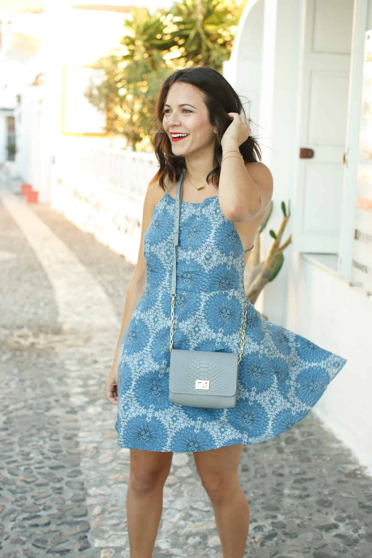 Revolve blue dress, Santorini Greece, Fira, what to wear to Greece - My Style Vita @mystylevita