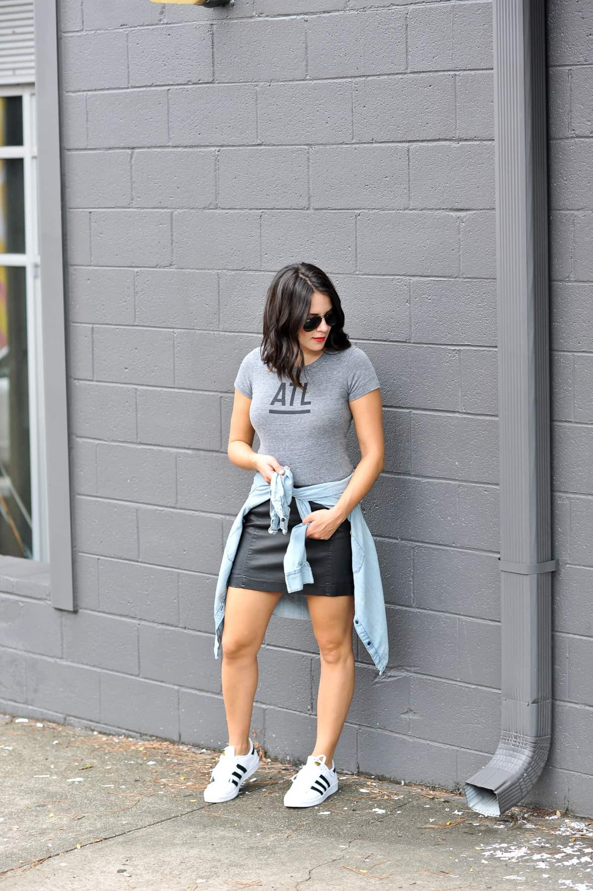 0502fb39c368 Elk Head Clothing ATL Tee (women's options instore)| Chambray Shirt | Faux Leather  Mini Skirt | Adidas Superstars | RayBan Aviators | Dolce & Gabbana Matte ...