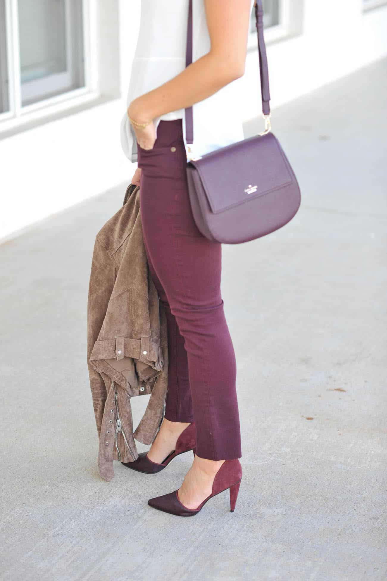 colored jeans for fall, burgundy outfit ideas for fall, date night outfit ideas - My Style Vita @mystylevita