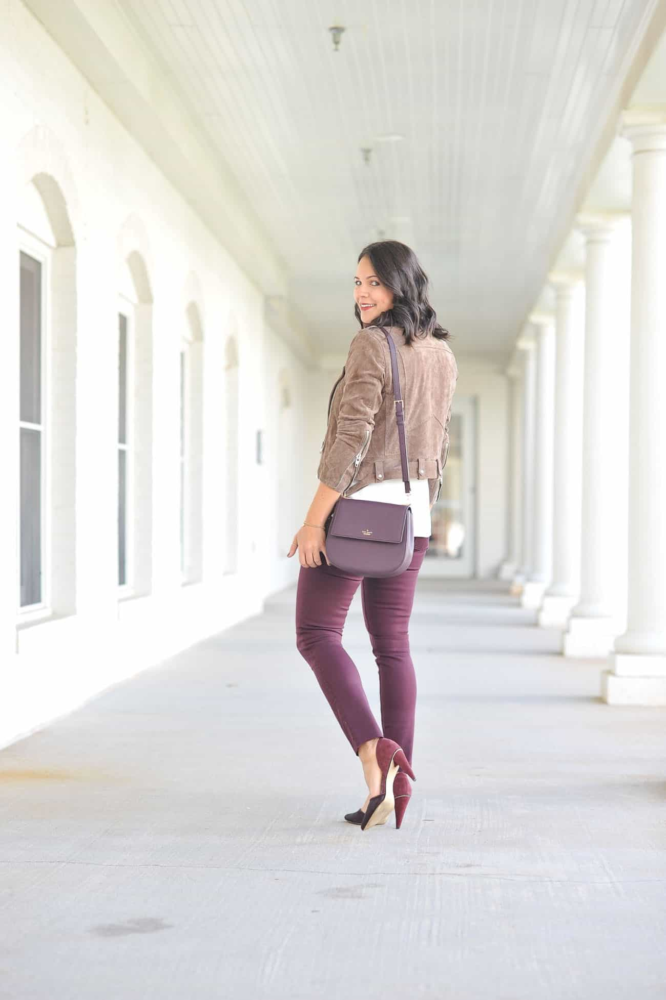 styling a moto jacket, colored jeans for fall, fall outfit ideas - My Style Vita @mystylevita