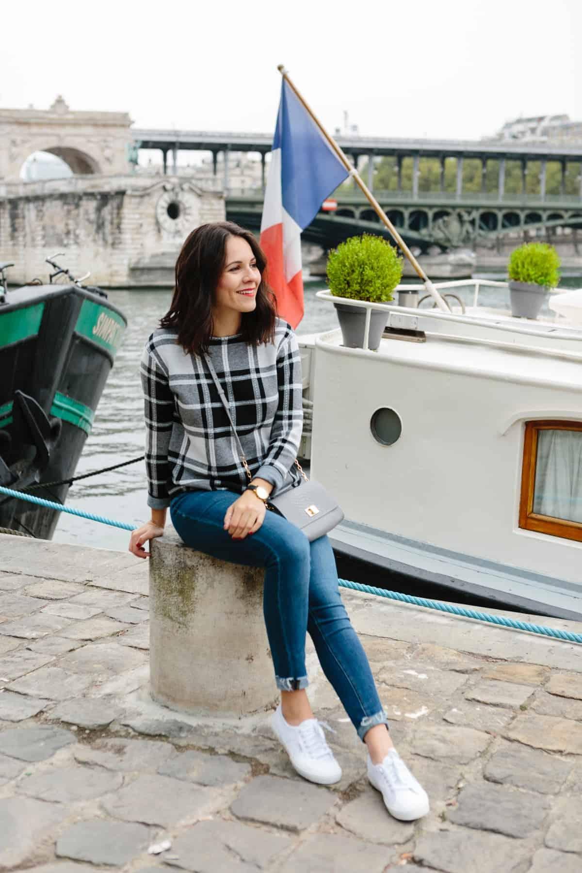 J. Jill plaid sweater, fall outfit ideas, Paris outfit ideas - My Style Vita @mystylevita