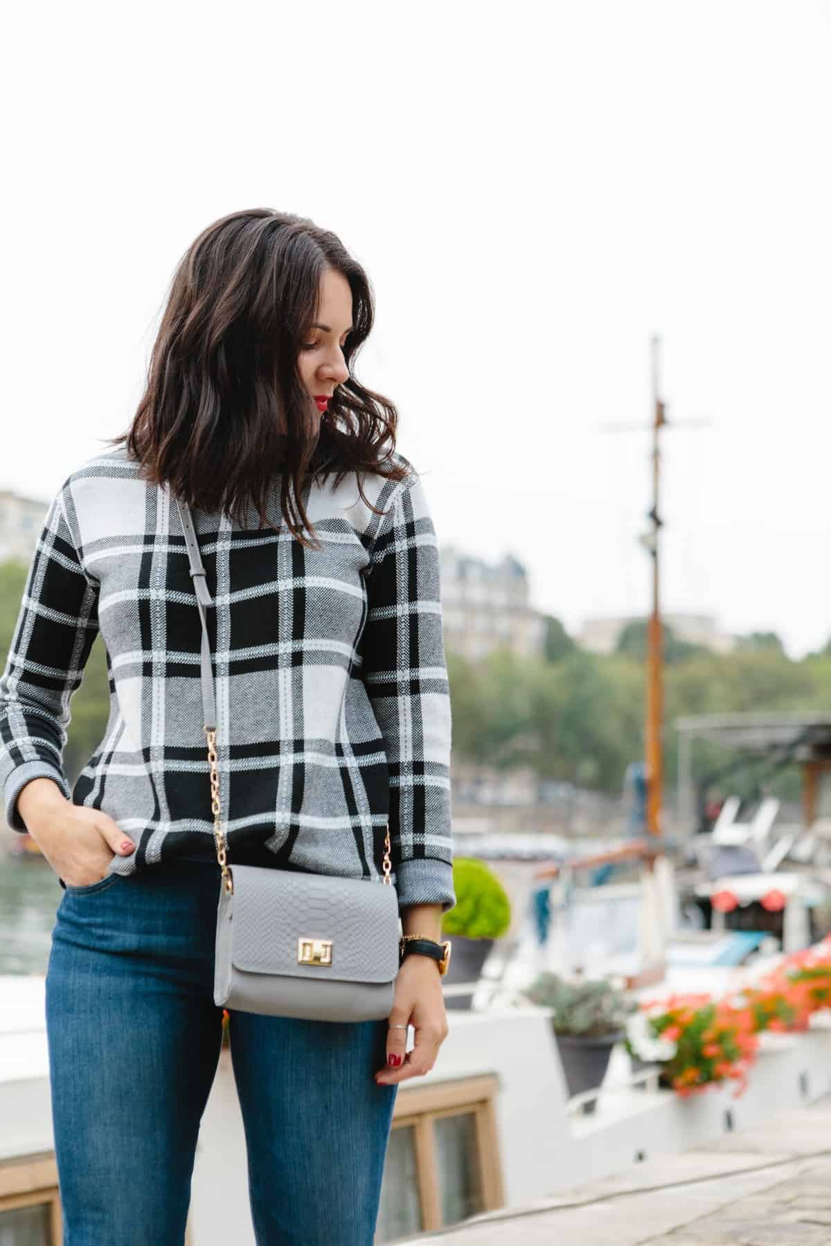 Plaid sweater and Paris Seine in the background
