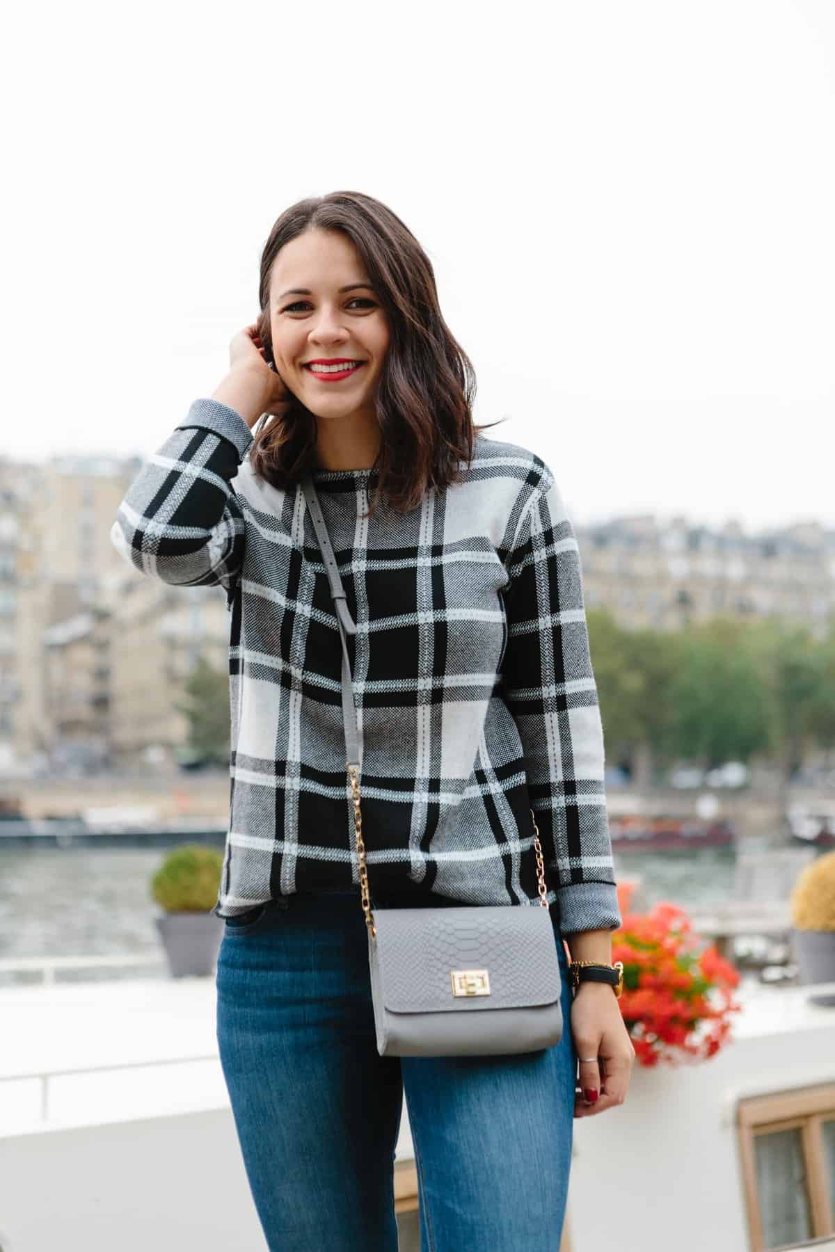 J. Jill plaid sweater, fall outfit ideas, Paris outfit ideas - My Style Vita @mystylevita
