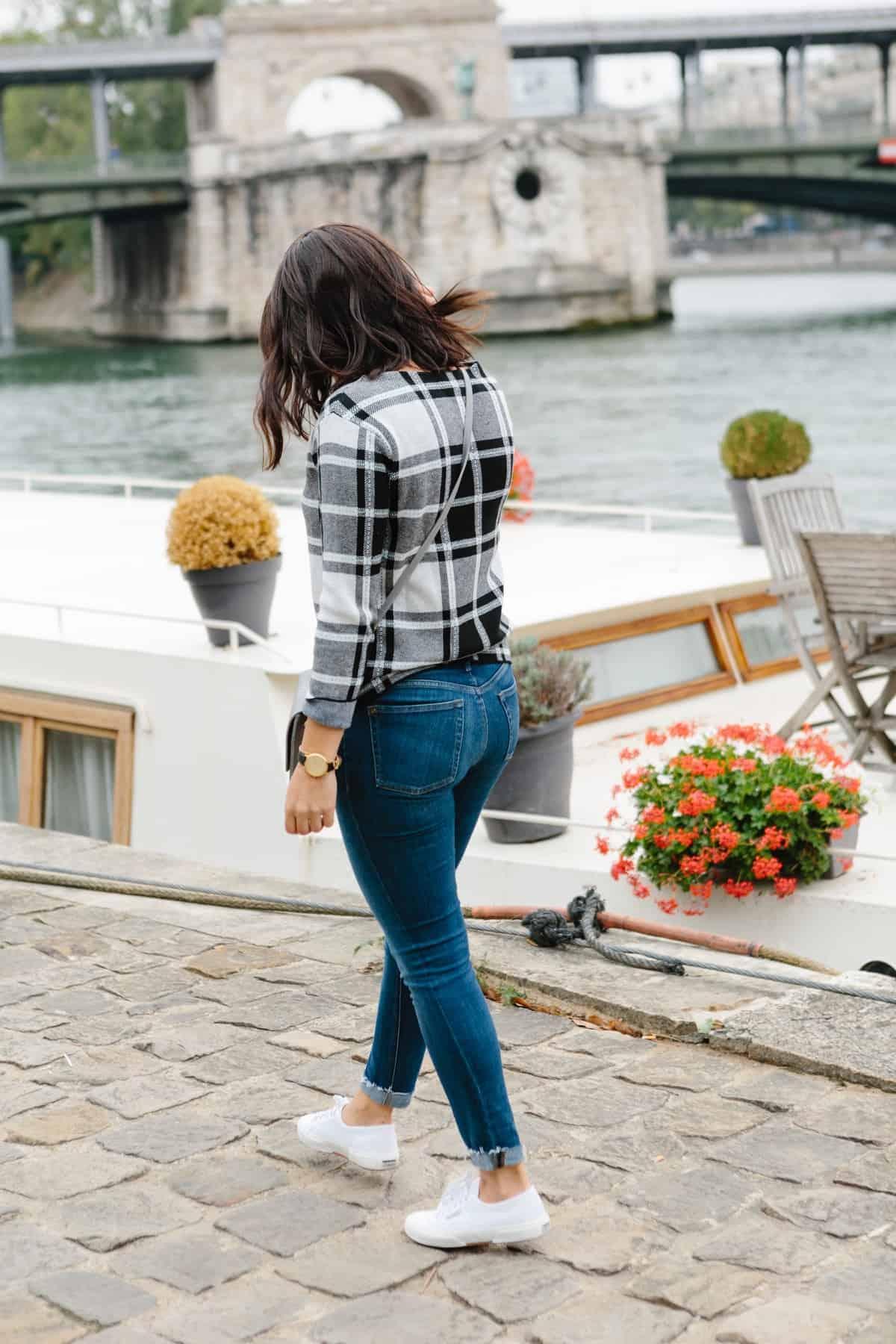 plaid sweater, photos at the seine in paris