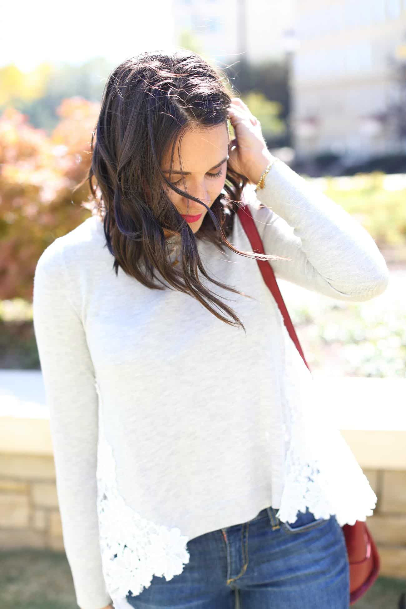 Chelsea 28 lace back sweater, casual fall outfit ideas - My Style Vita @mystylevita