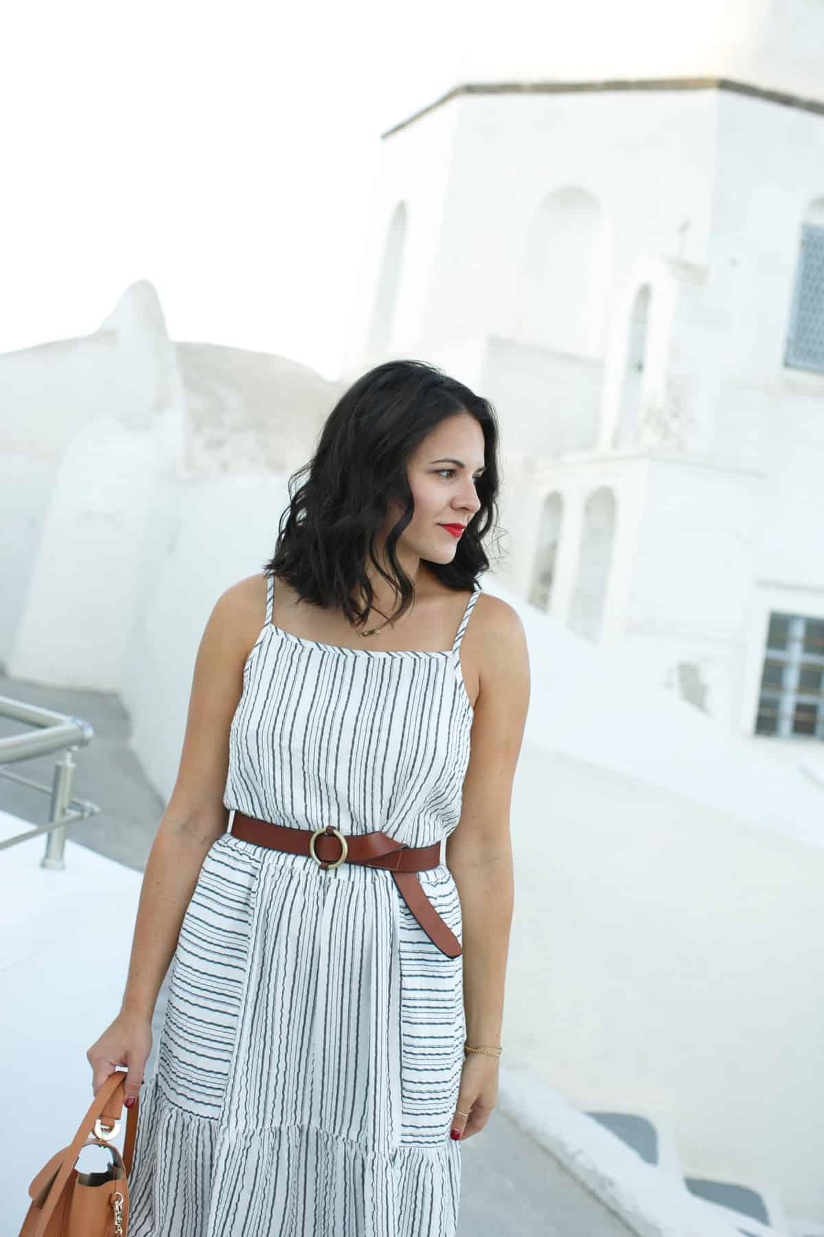 Michael Stars striped midi dress - What to wear on vacation, Greece outfit ideas - My Style Vita @mystylevita