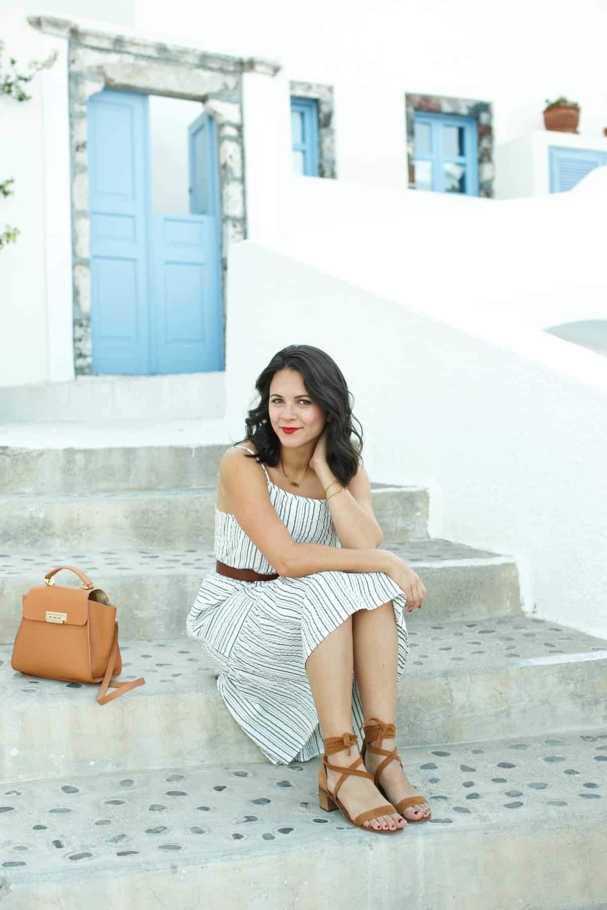 Michael Stars striped midi dress - - What to wear on vacation, Greece outfit ideas - My Style Vita @mystylevita