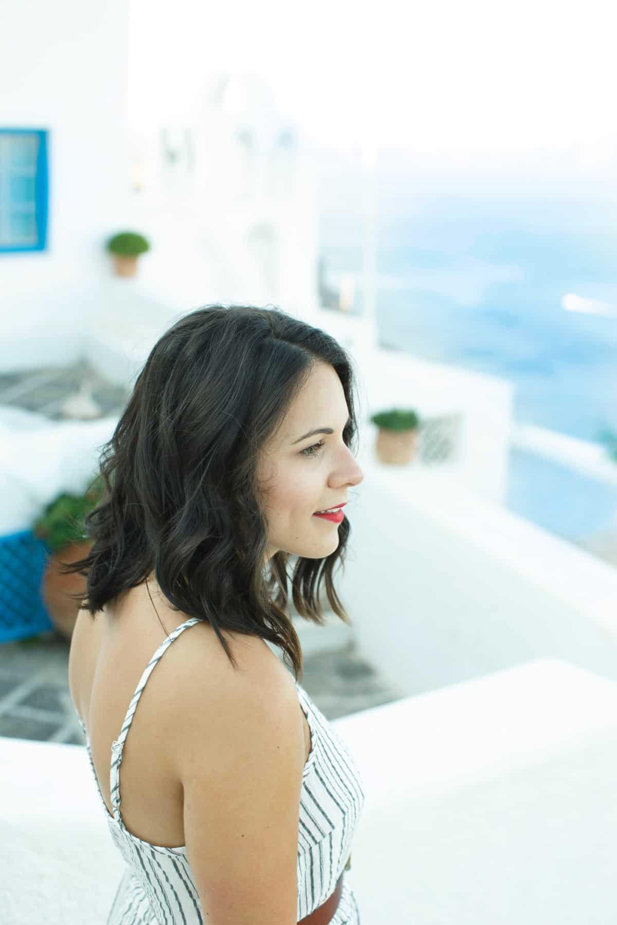 Michael Stars striped midi dress -- What to wear on vacation, Greece outfit ideas - My Style Vita @mystylevita
