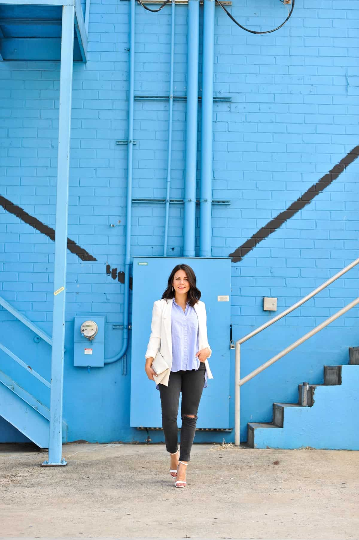 blue and grey outfit idea, date night outfit ideas, casual office outfits - My Style Vita @mystylevita