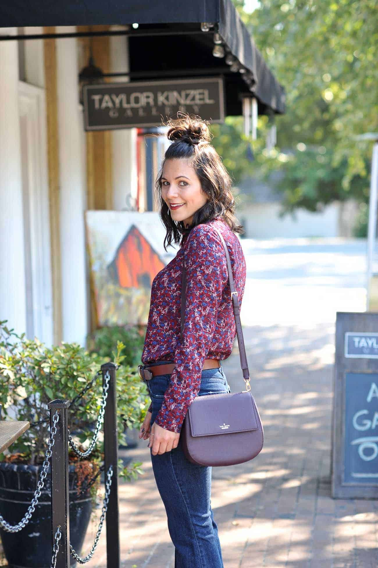bow tie top, styling wide leg jeans for fall - My Style Vita @mystylevita