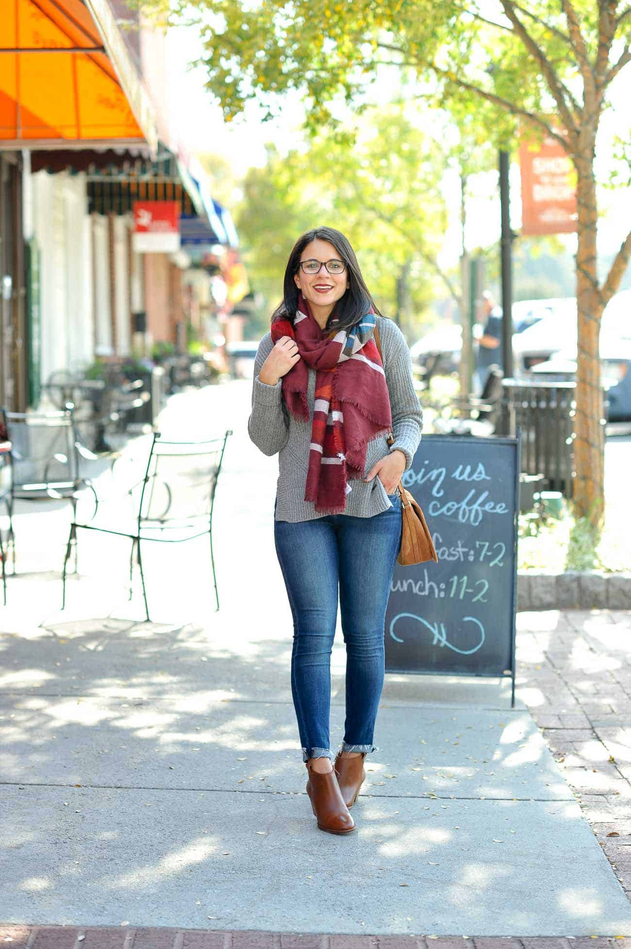 Madewell Booties For Fall, Blanket Scarf Outfit - My Style Vita @mystylevita