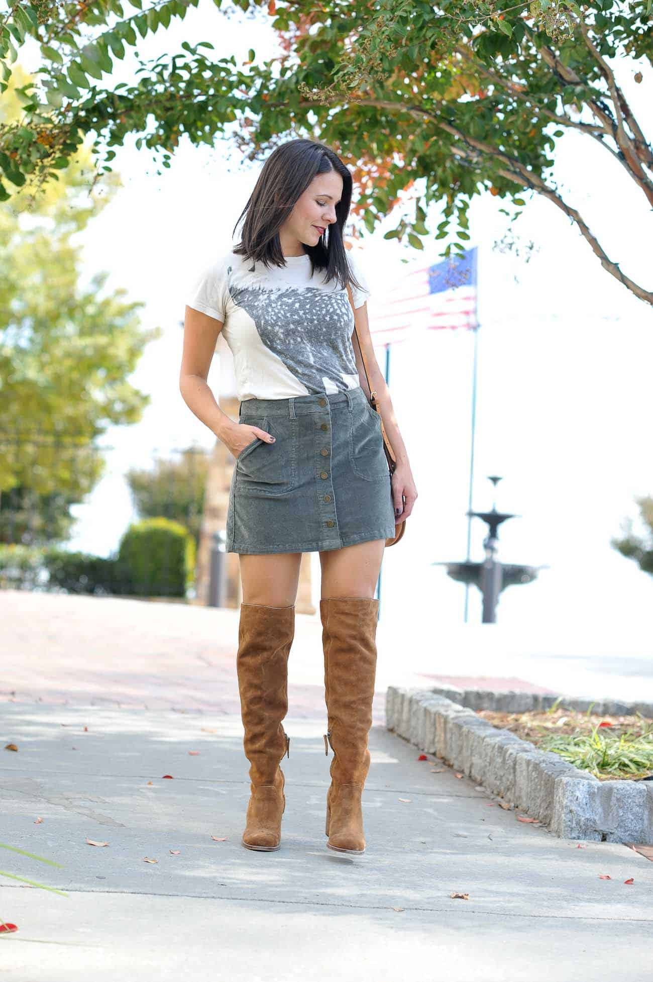 over the knee boots, button up mini skirt, outfit ideas for fall - My Style Vita @mystylevita
