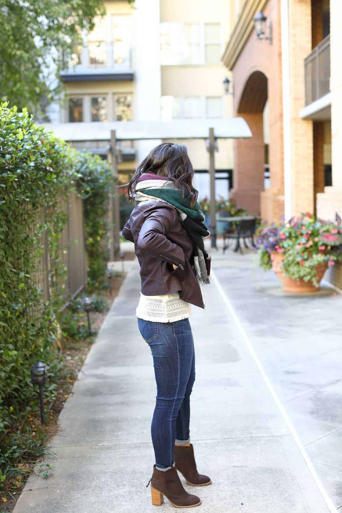 cupcakes and cashmere faux leather jacket, how to style a blanket scarf, fall outfits - My Style Vita @mystylevita