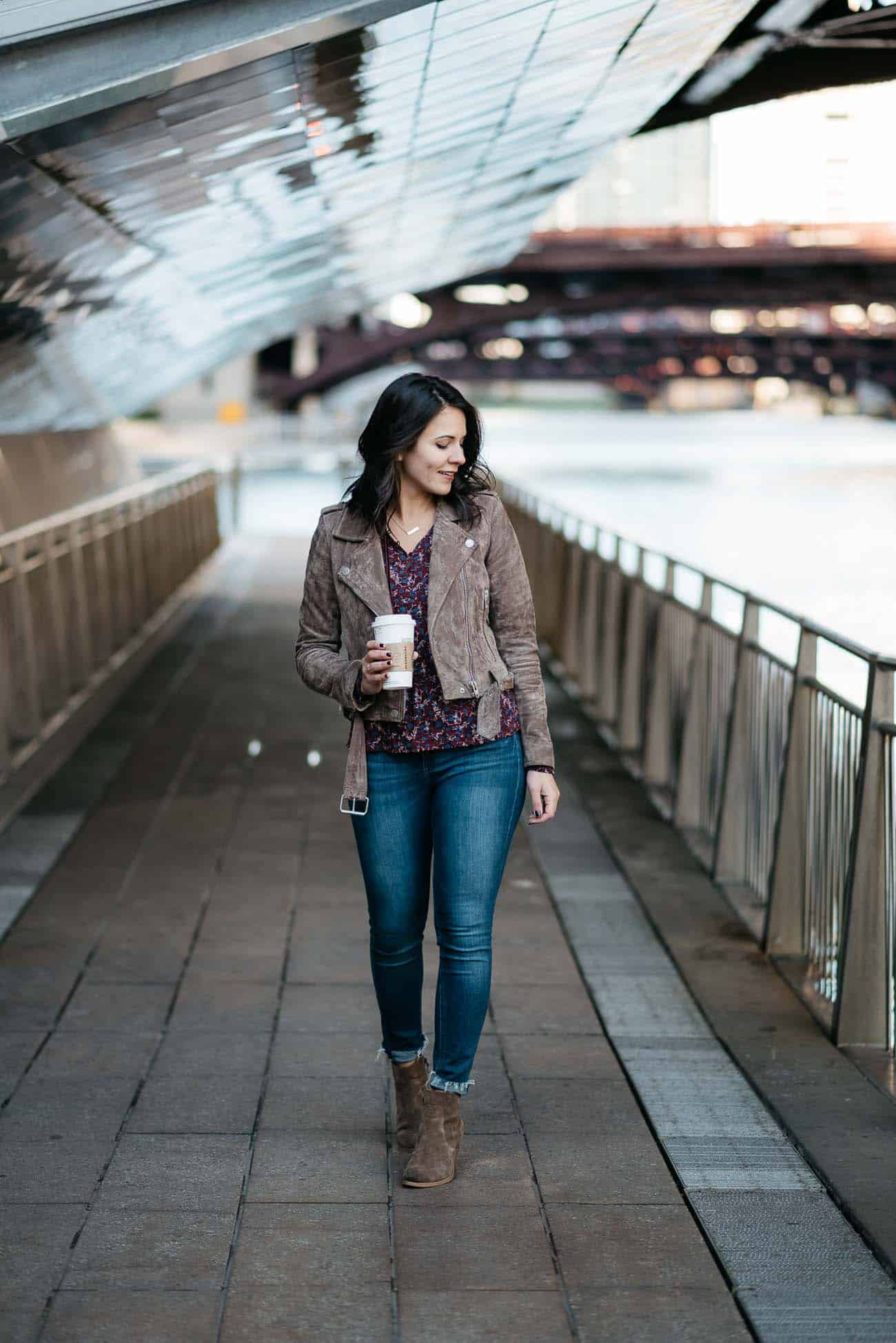 casual outfit ideas, suede moto jacket, jeans and booties, coffee, fall outfits - My Style Vita @mystylevita