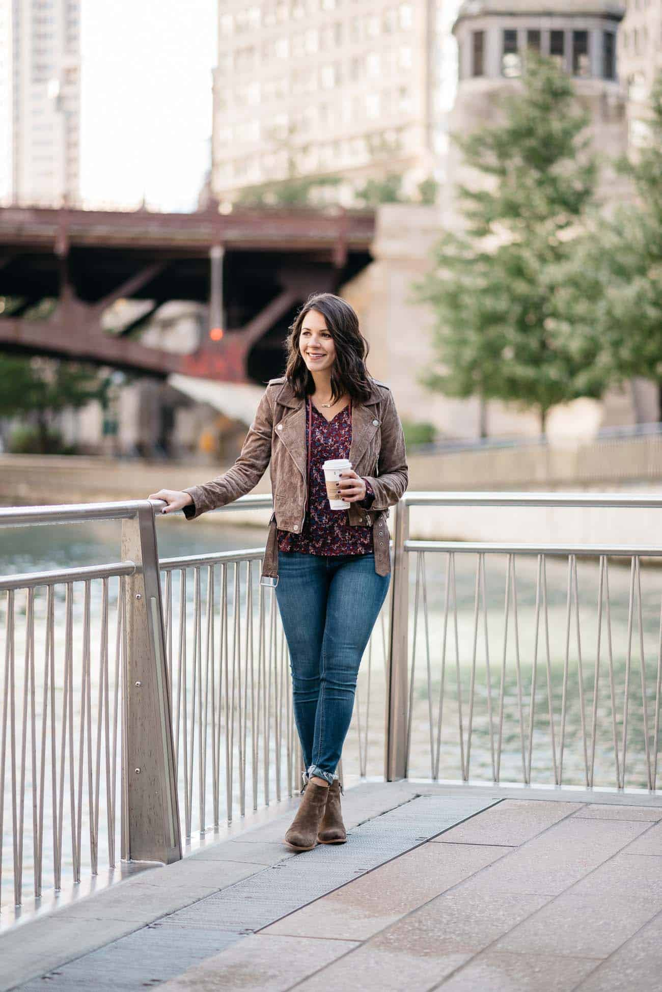 casual outfit ideas, suede moto jacket, jeans and booties, coffee, fall outfits, chicago riverwalk - My Style Vita @mystylevita