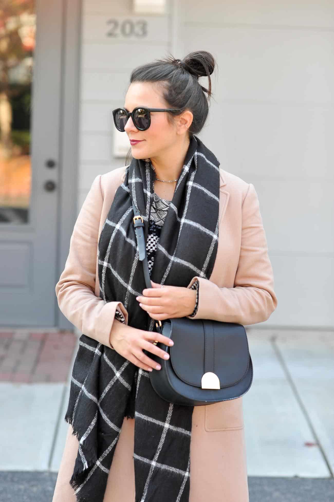 layered winter outfit ideas, ann taylor camel coat, blanket scarf - My Style Vita @mystylevita
