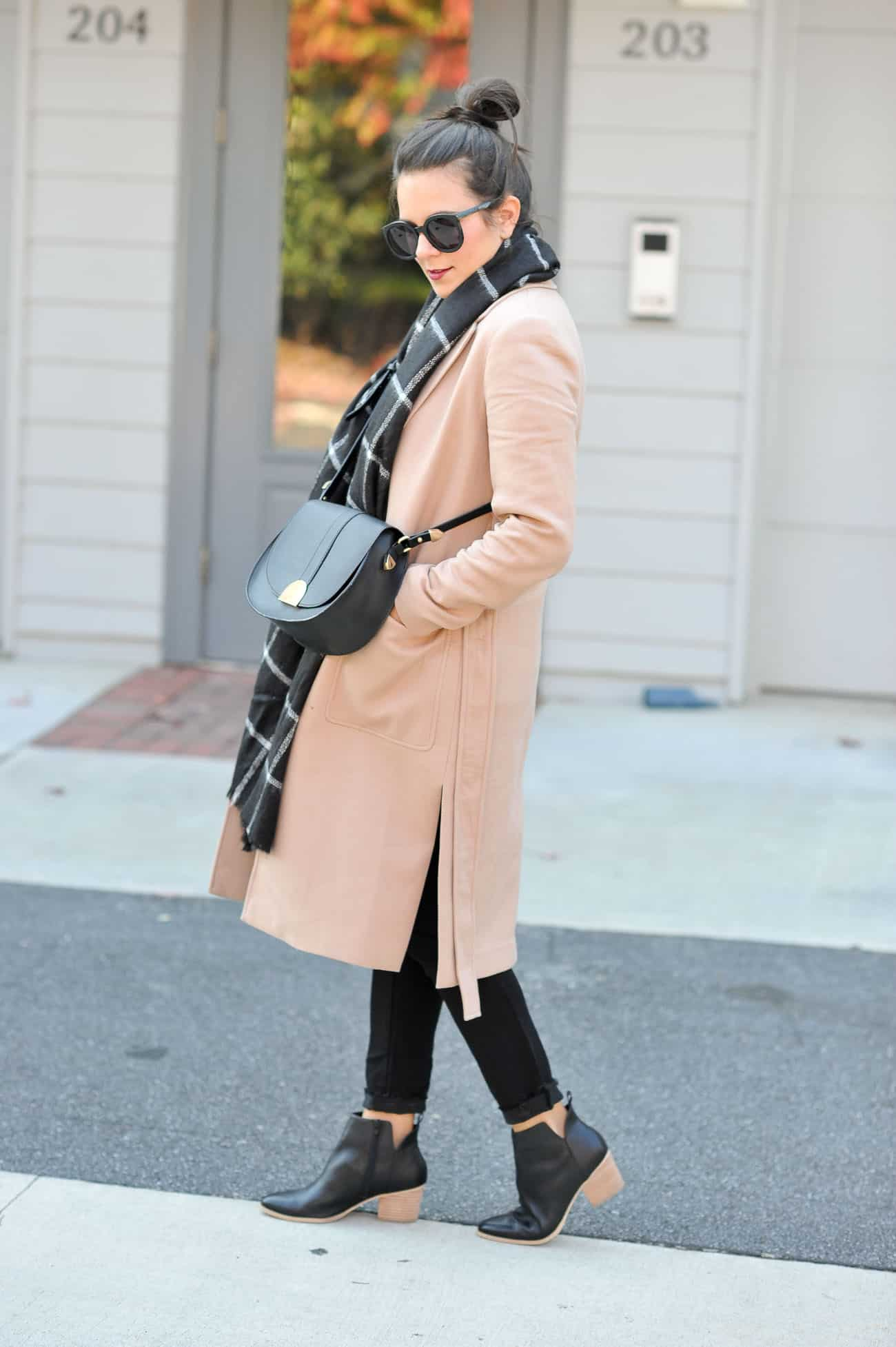 layered winter outfit ideas, ann taylor camel coat, blanket scarf - My Style Vita @mystylevita