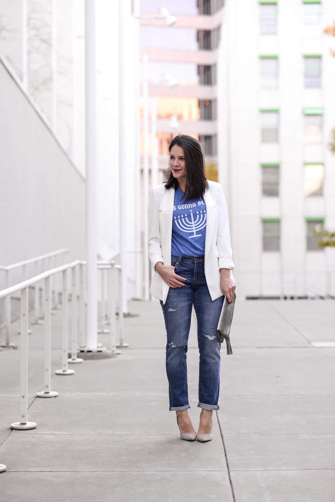 Hanukah T Shirt, Hanukah Party Outfit Ideas - My Style Vita @mystylevita