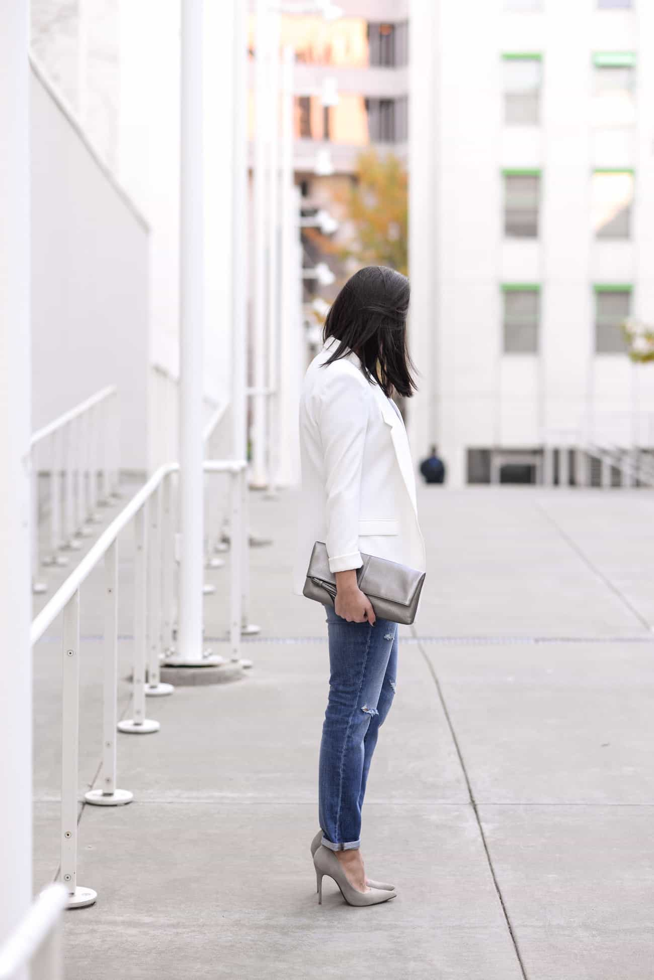 boyfriend jeans, grey suede heels, Hanukah Party Outfit Ideas - My Style Vita @mystylevita