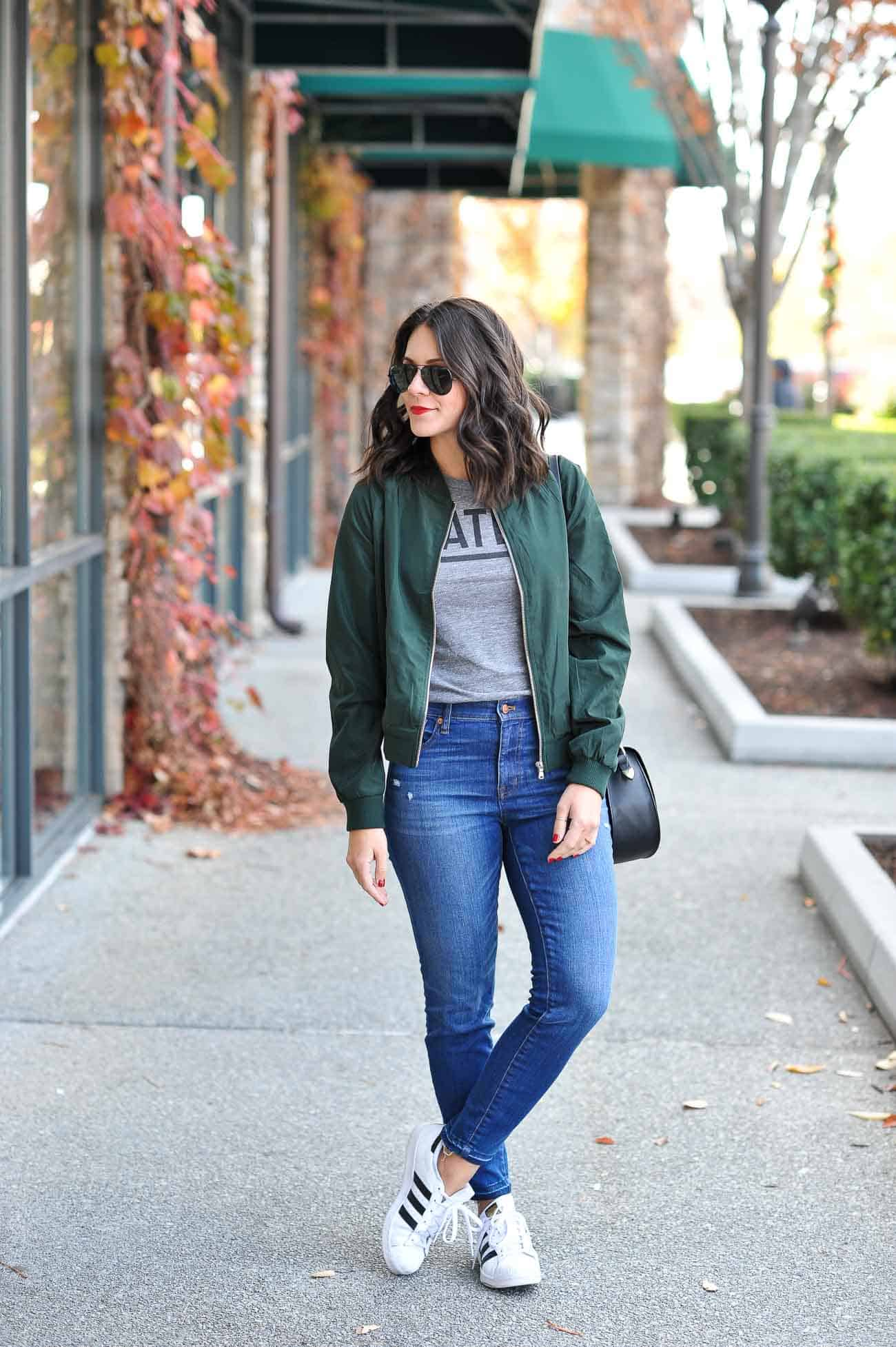how to style a bomber jacket, fall outfits, adidas outfits, casual outfits - My Style Vita @mystylevita