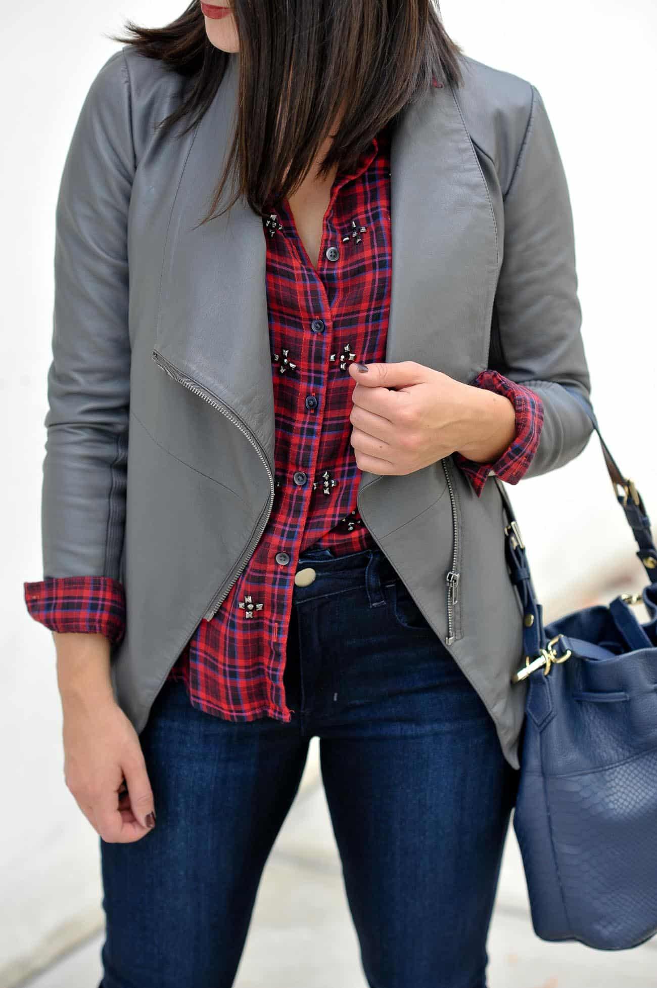 leather jacket and plaid shirt, fall outfits - My Style Vita @mystylevita