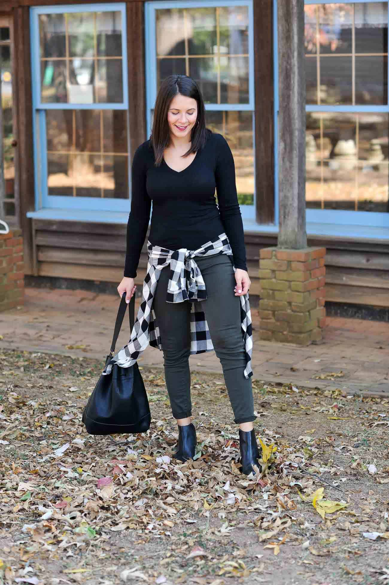fall outfit ideas, casual affordable weekend style, buffalo plaid - My Style Vita @mystylevita