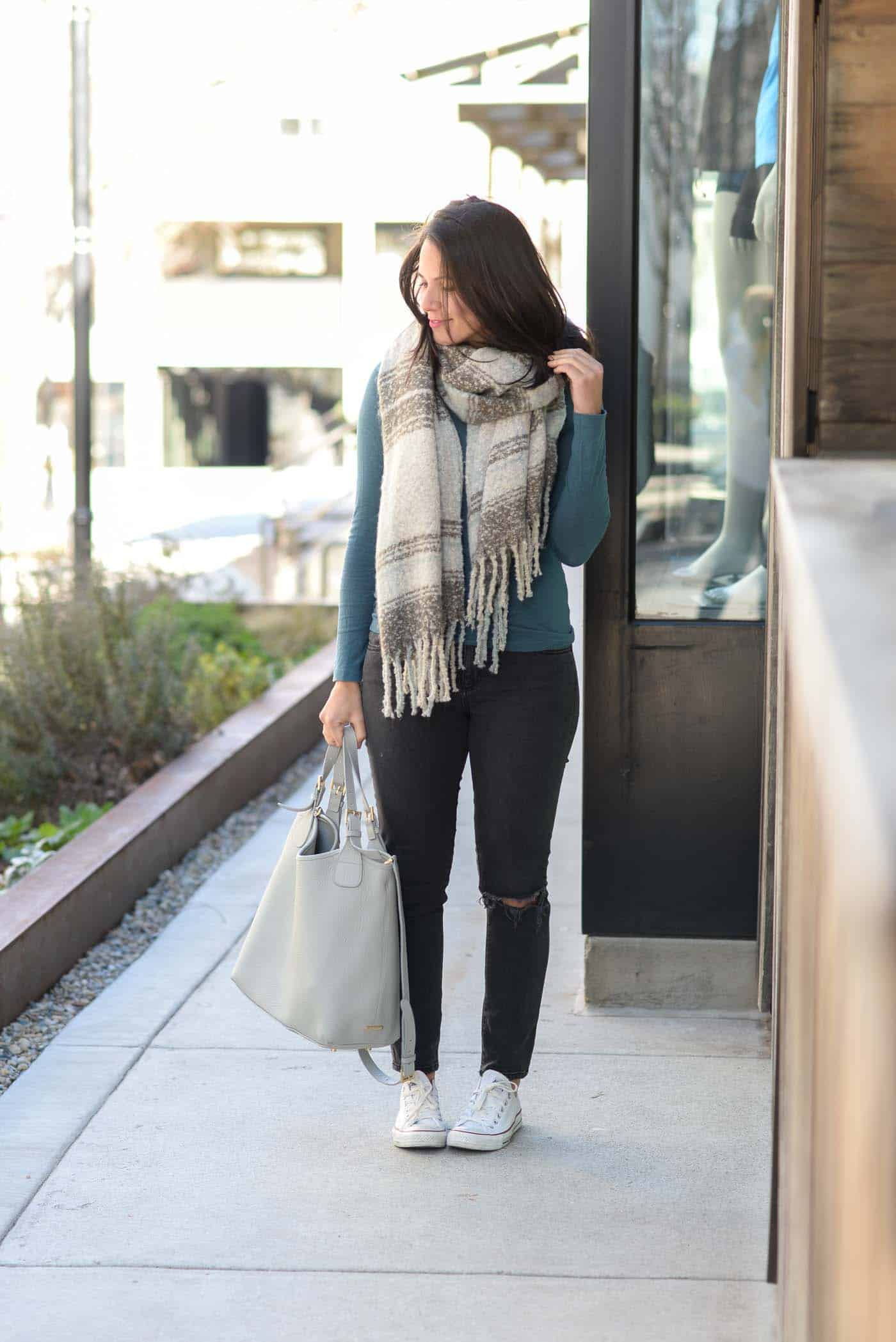 bundled up outfit for fall, blanket scarf - My Style Vita @mystylevita