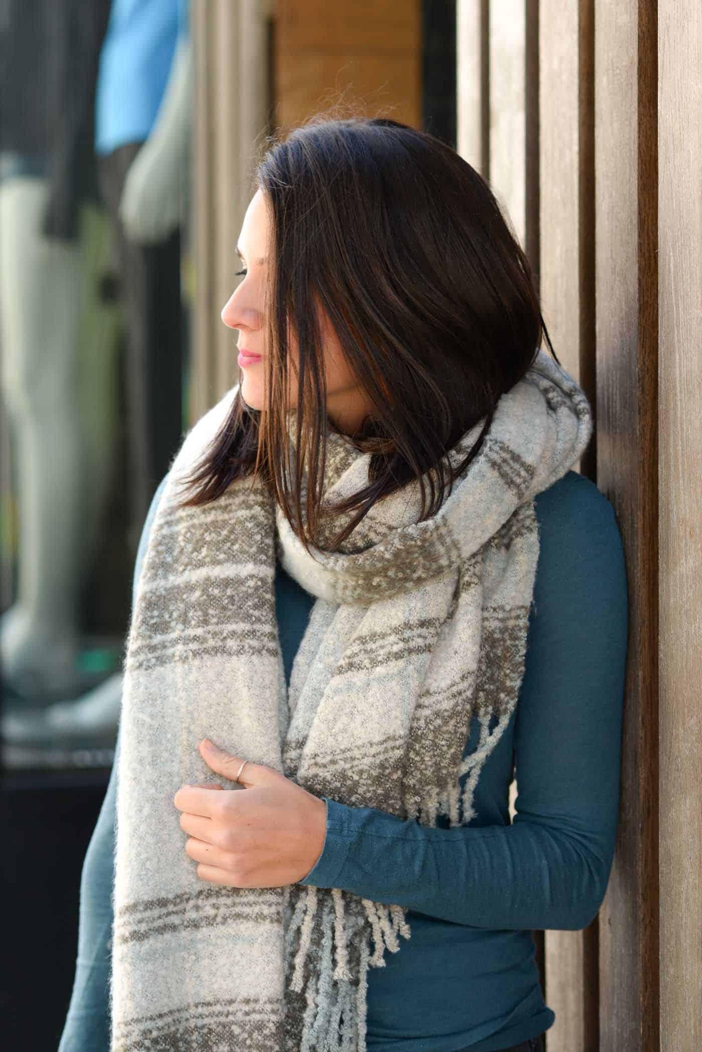 bundled up outfit for fall, blanket scarf outfit - My Style Vita @mystylevita