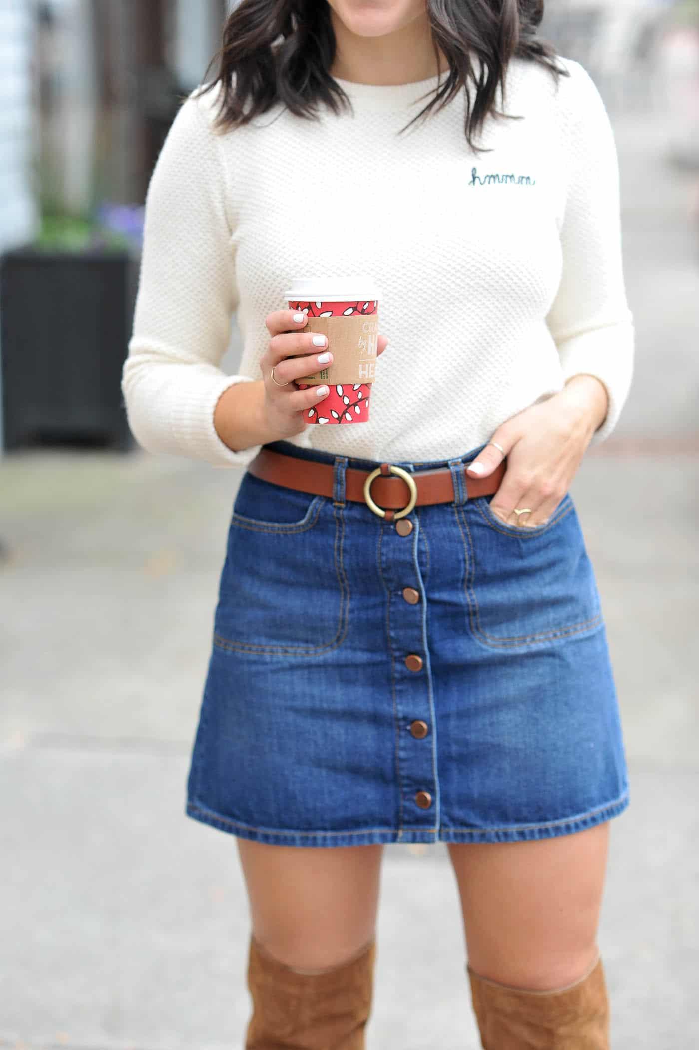 how to style a denim skirt, denim mini skirt, fall fashion - My Style Vita @mystylevita