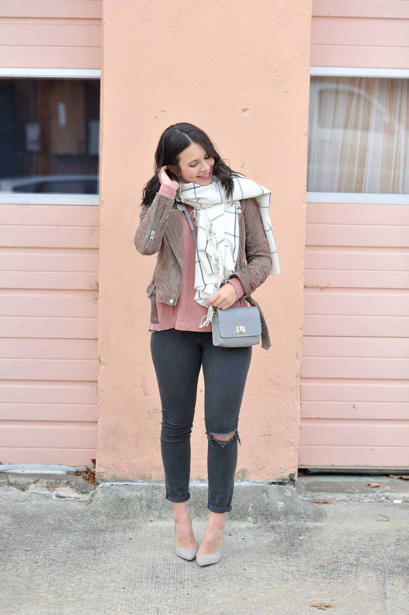 Neutral fall outfit ideas, fall outfits with blush, suede jacket - My Style Vita @mystylevita