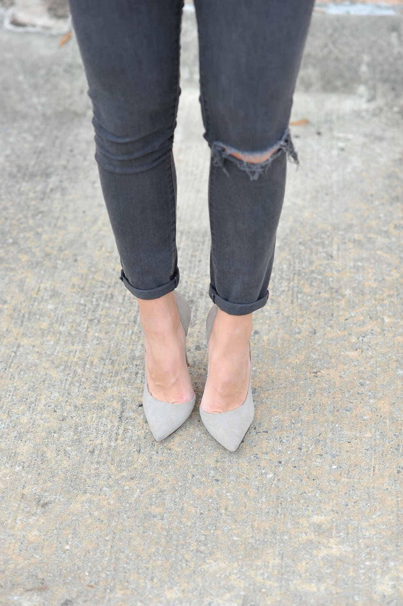 grey suede heels, grey jeans, monochromatic outfits - My Style Vita @mystylevita