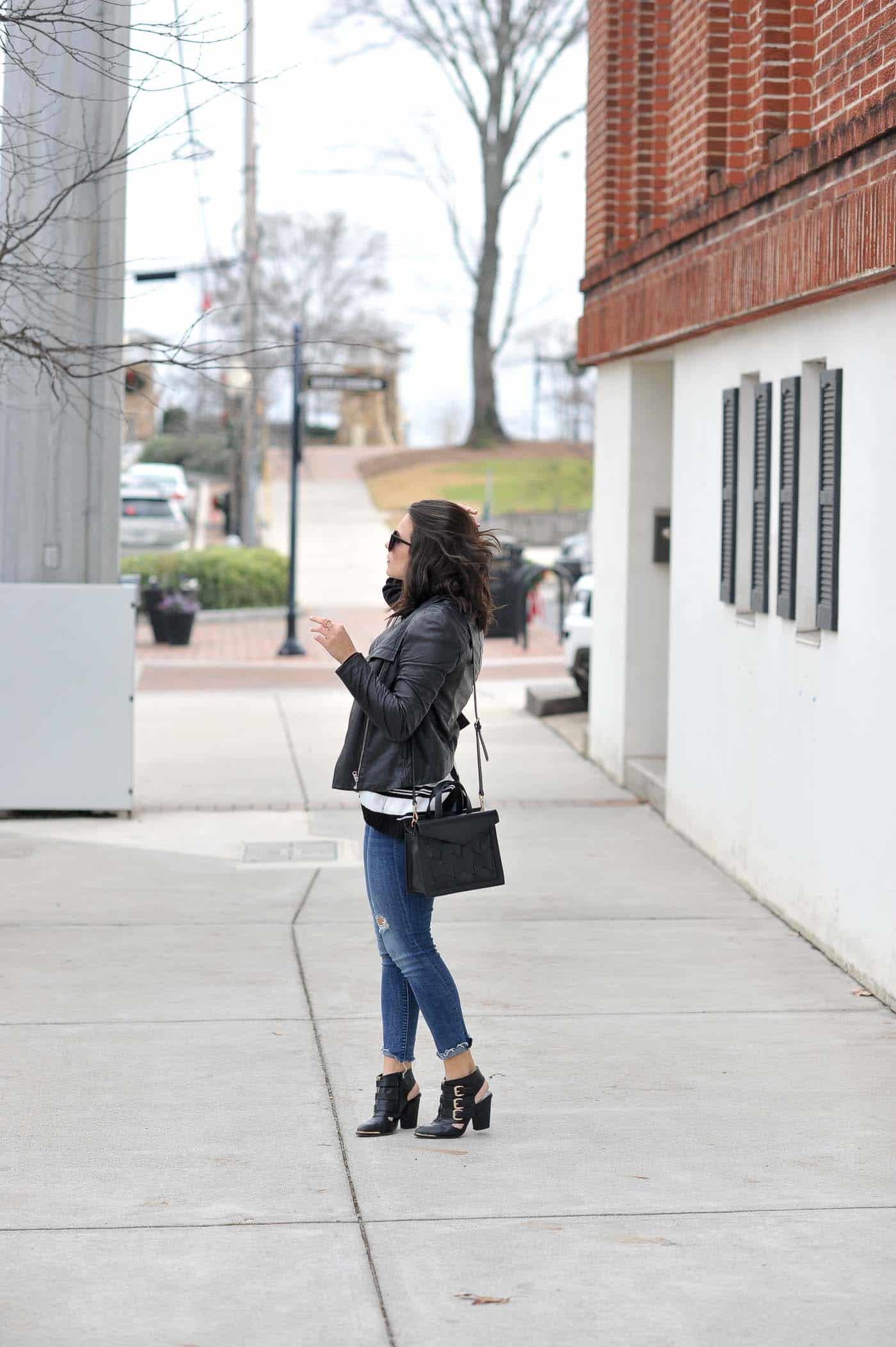leather jacket outfit, black and white striped sweater - My Style Vita @mystylevita