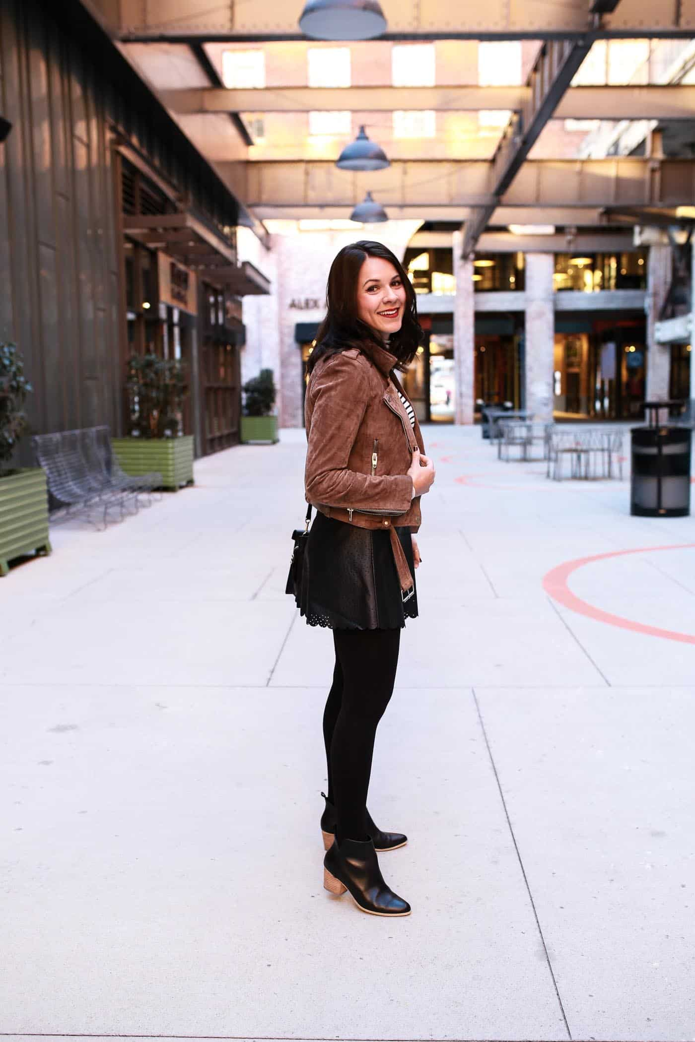 leather skirt and tights, fall outfits - My Style Vita @mystylevita