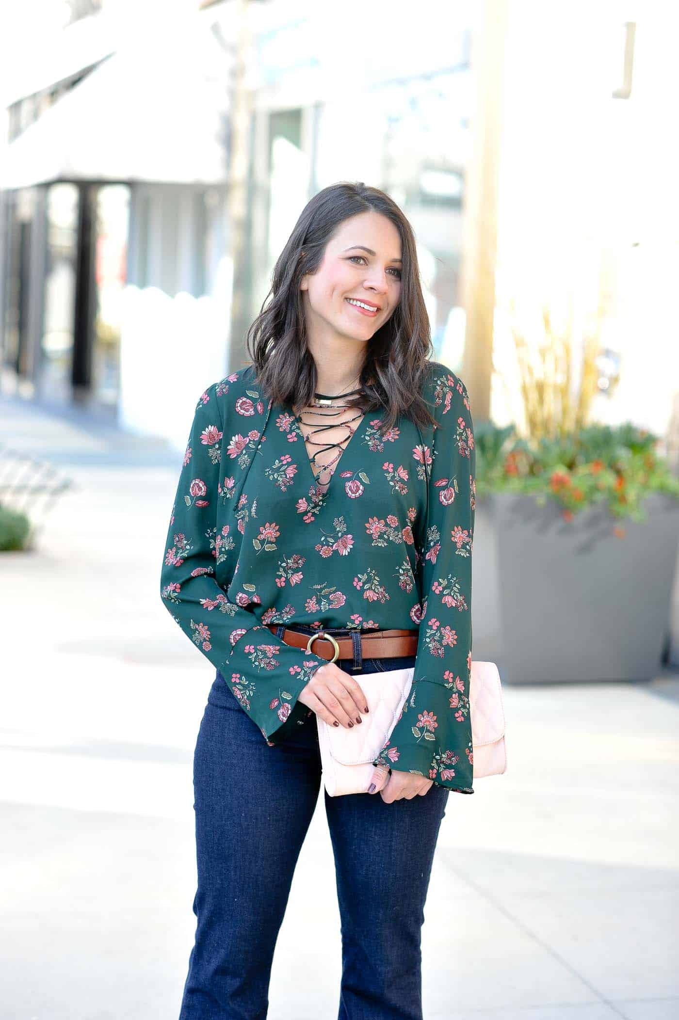 Lace Up Bell Sleeve Blouse - green and pink outfits - styling high waisted wide leg jeans - everyday outfit ideas - My Style Vita @mystylevita-2