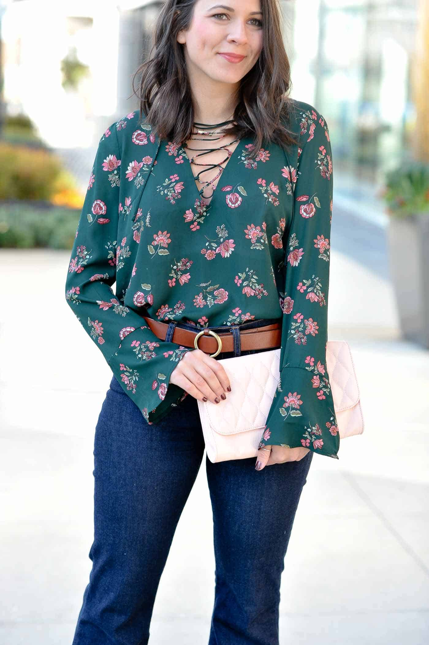 Lace Up Bell Sleeve Blouse Green And Pink Outfits Styling High Waisted Wide Leg