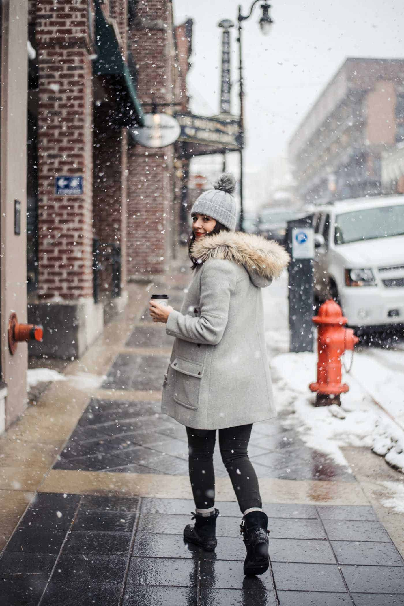 Winter outfit, Park City Utah, J Crew Chateau Parka, winter boots, how to style sperry winter boots
