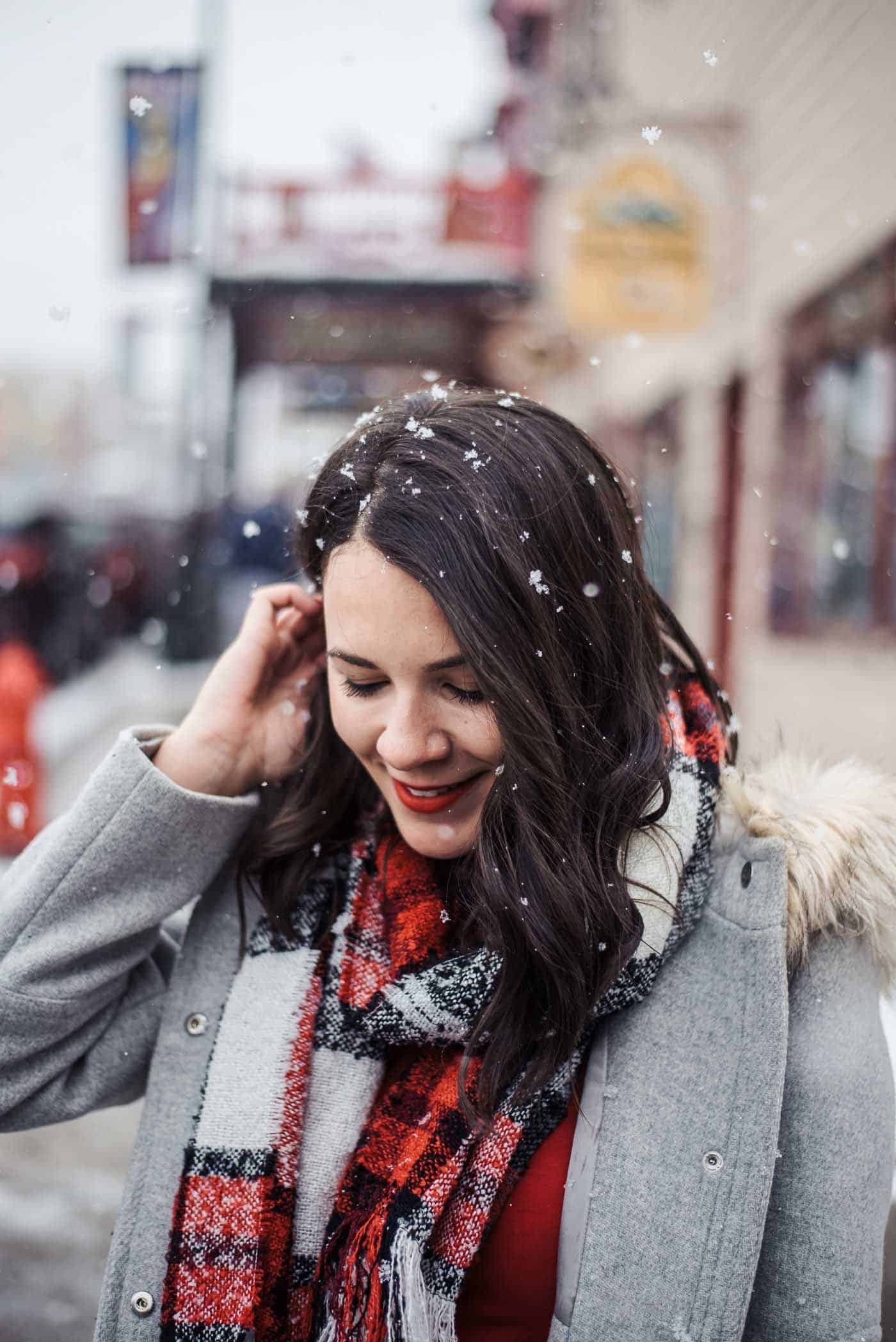 how to dress up snow boots - dressed up duck boots - red dress and winter coat - My Style Vita @mystylevita