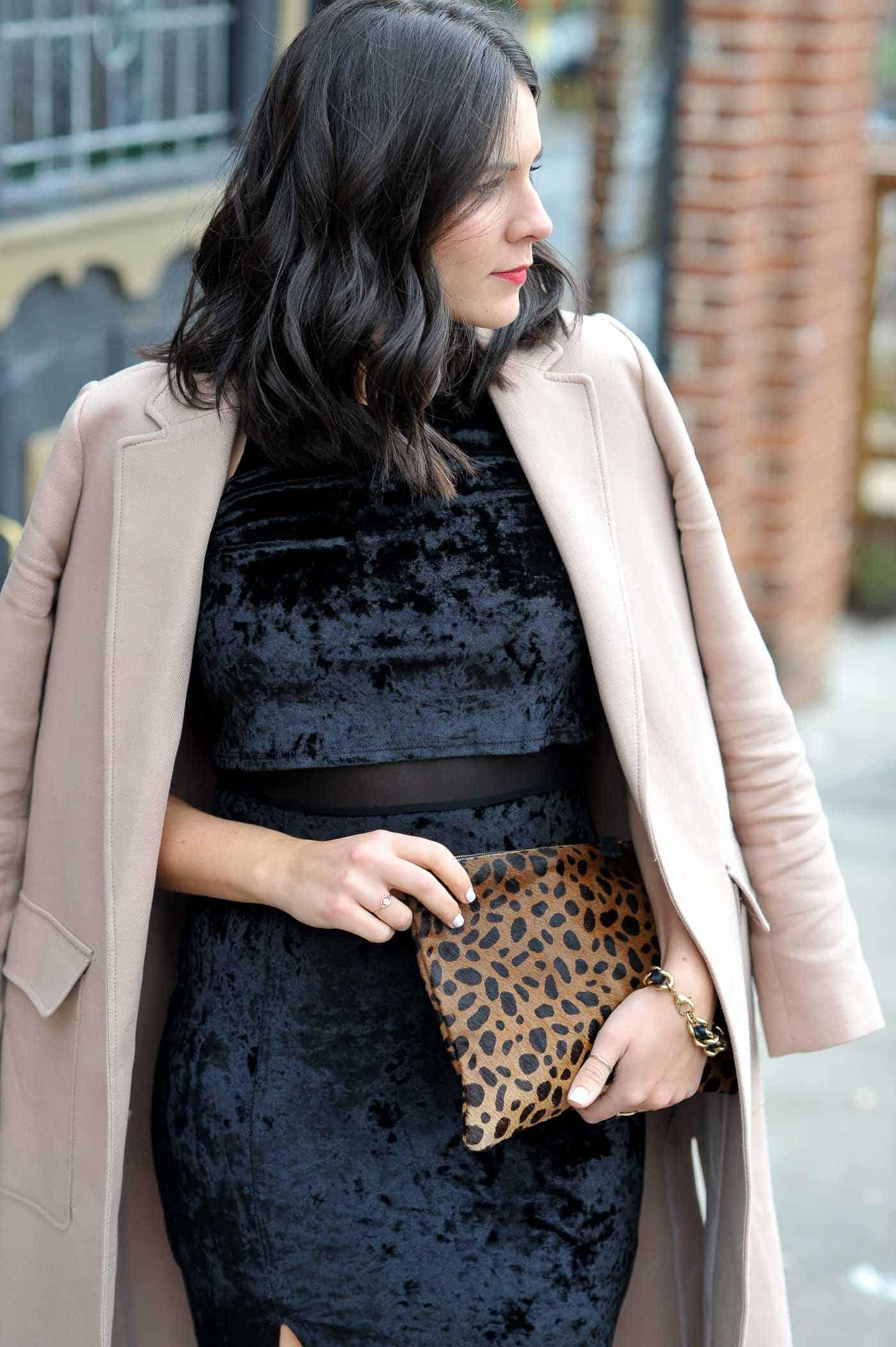 Crushed Velvet Black Midi Dress - My Style Vita