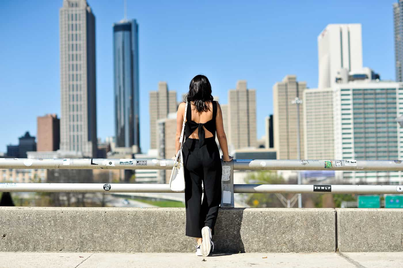 Madewell Bow Back Jumpsuit - How to style a wide leg jumpsuit - How to dress up Adidas - Atlanta skyline - My Style Vita @mystylevita