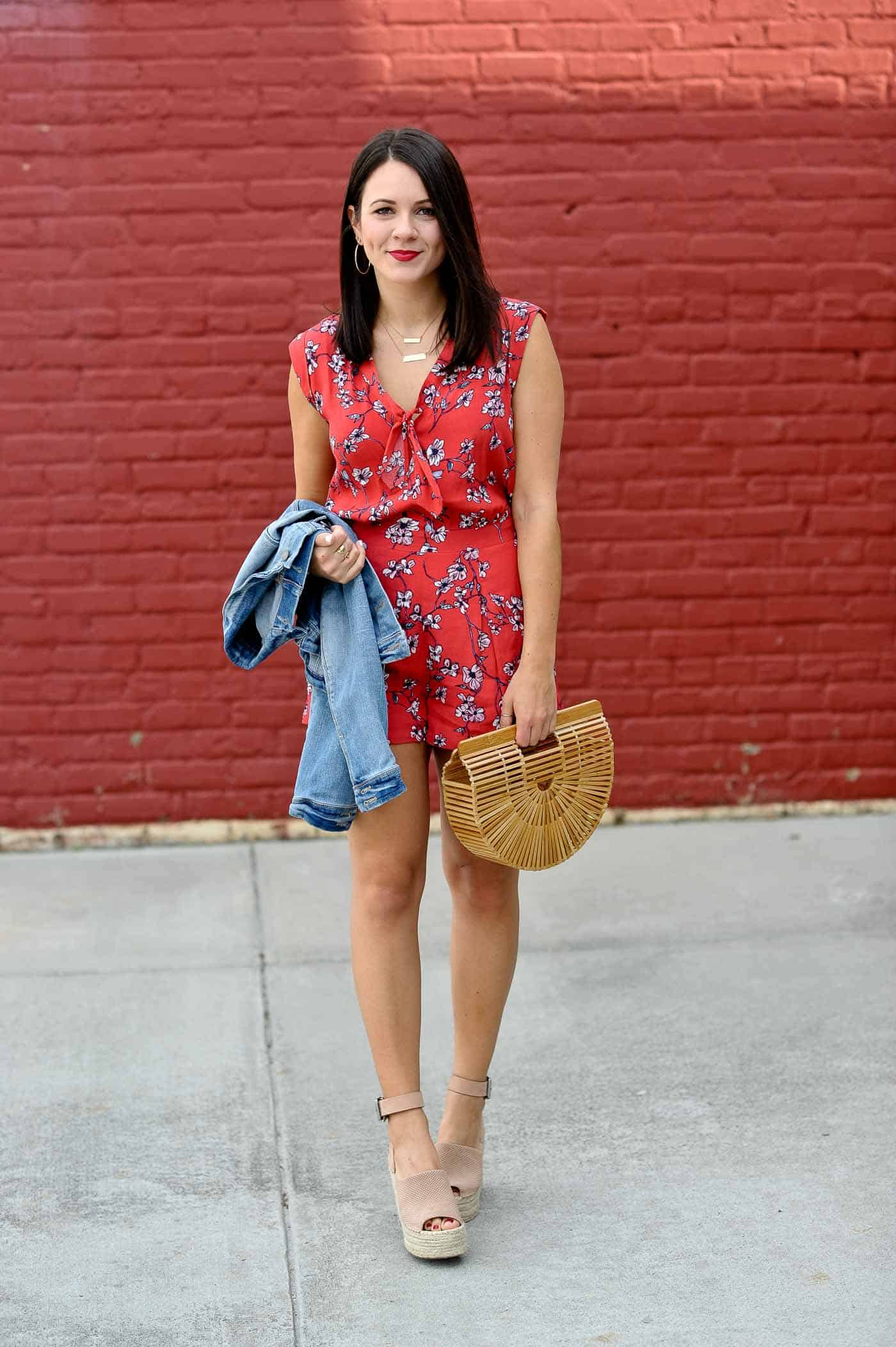 The Best Jumpsuits for Spring   cherry blossom romper and cult gaia bag outfit